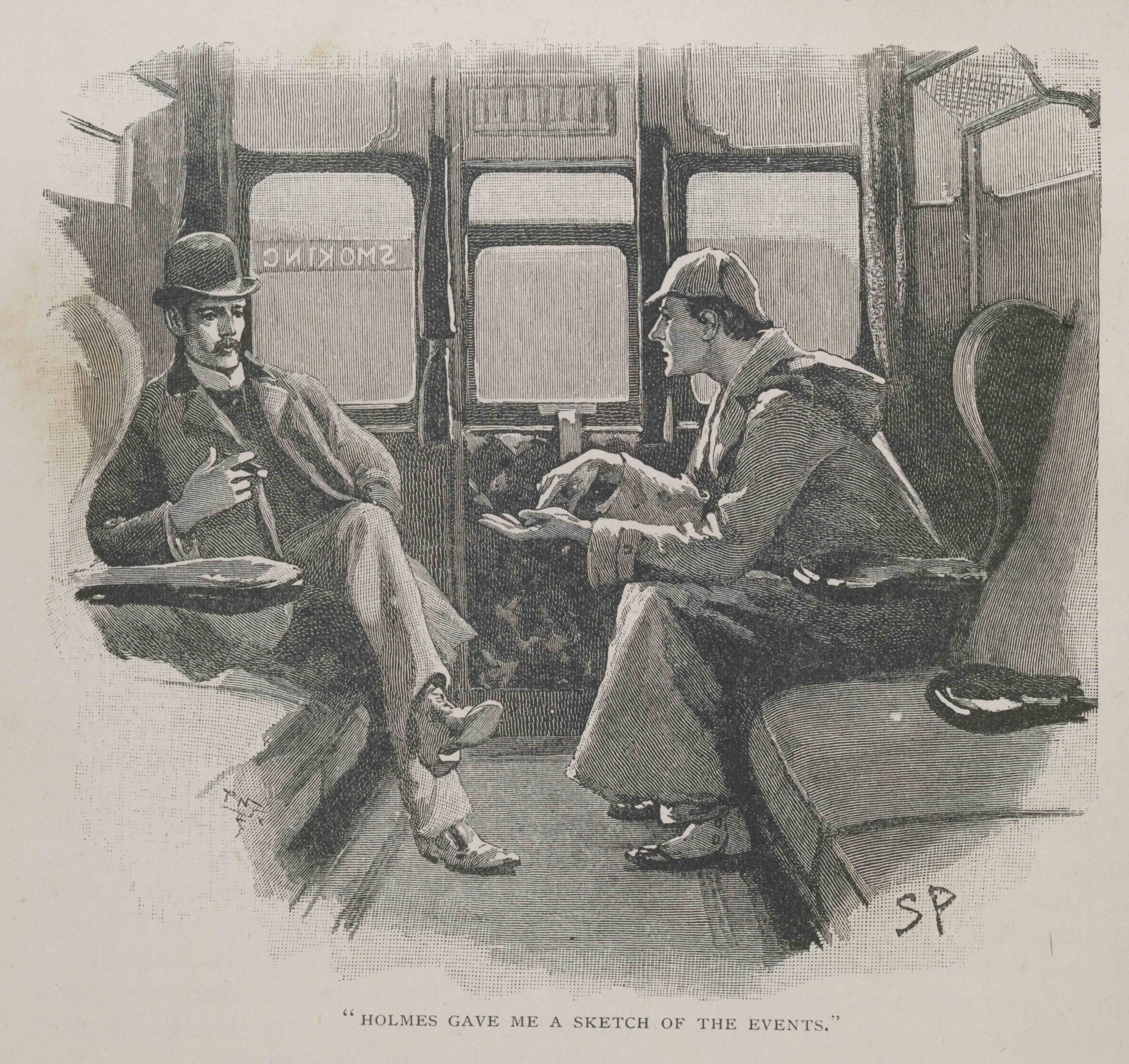 "The illustration The Adventure of the Silver Blaze — ""Holmes gave me a sketch of the events"" — from the Strand magazine Vol iv. 1892, page 646."