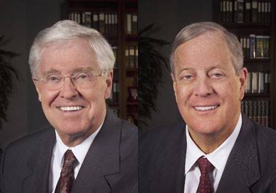 Americans for Prosperity, the conservative advocacy group supported by brothers Charles and David Koch, has launched an effort to torpedo a proposed settlement in the Detroit bankruptcy case, potentially complicating chances for completing the deal just as its prospects seemed to be improving. Charles Koch is at left. David Koch is at right.