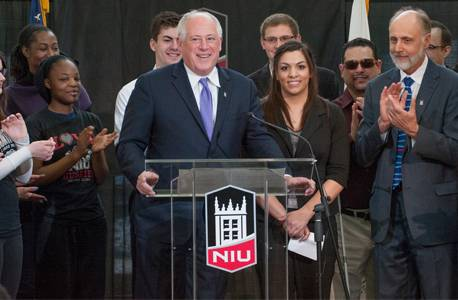 Courtesy of NIU Media Services Pat Quinn and Northern Illinois University President Doug Baker during a recent visit to NIU to promote college affordability.