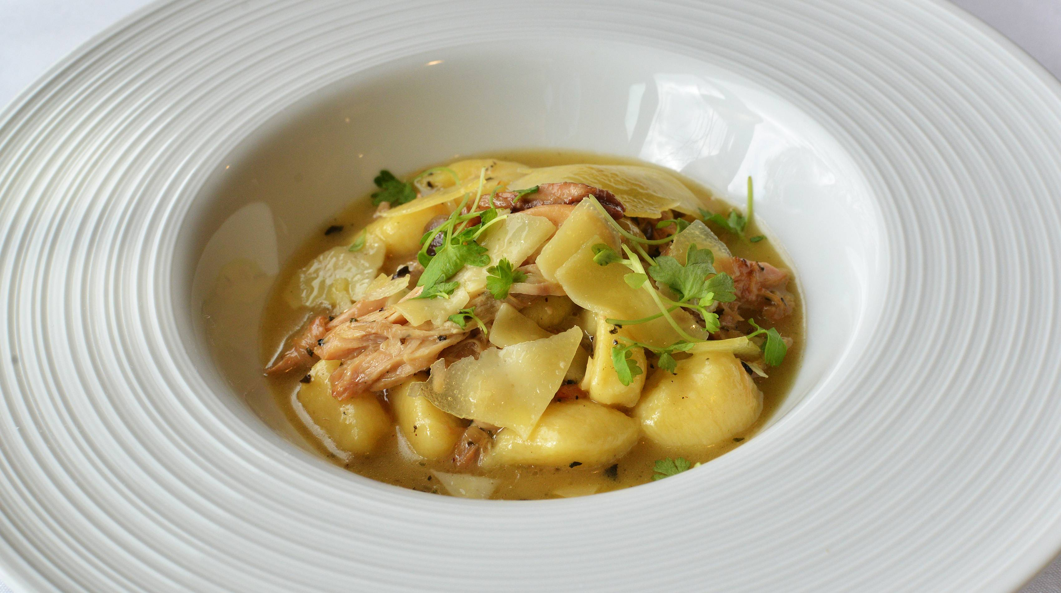 Waterleaf's unique global menu includes braised rabbit gnocchi, a dish not to be missed.