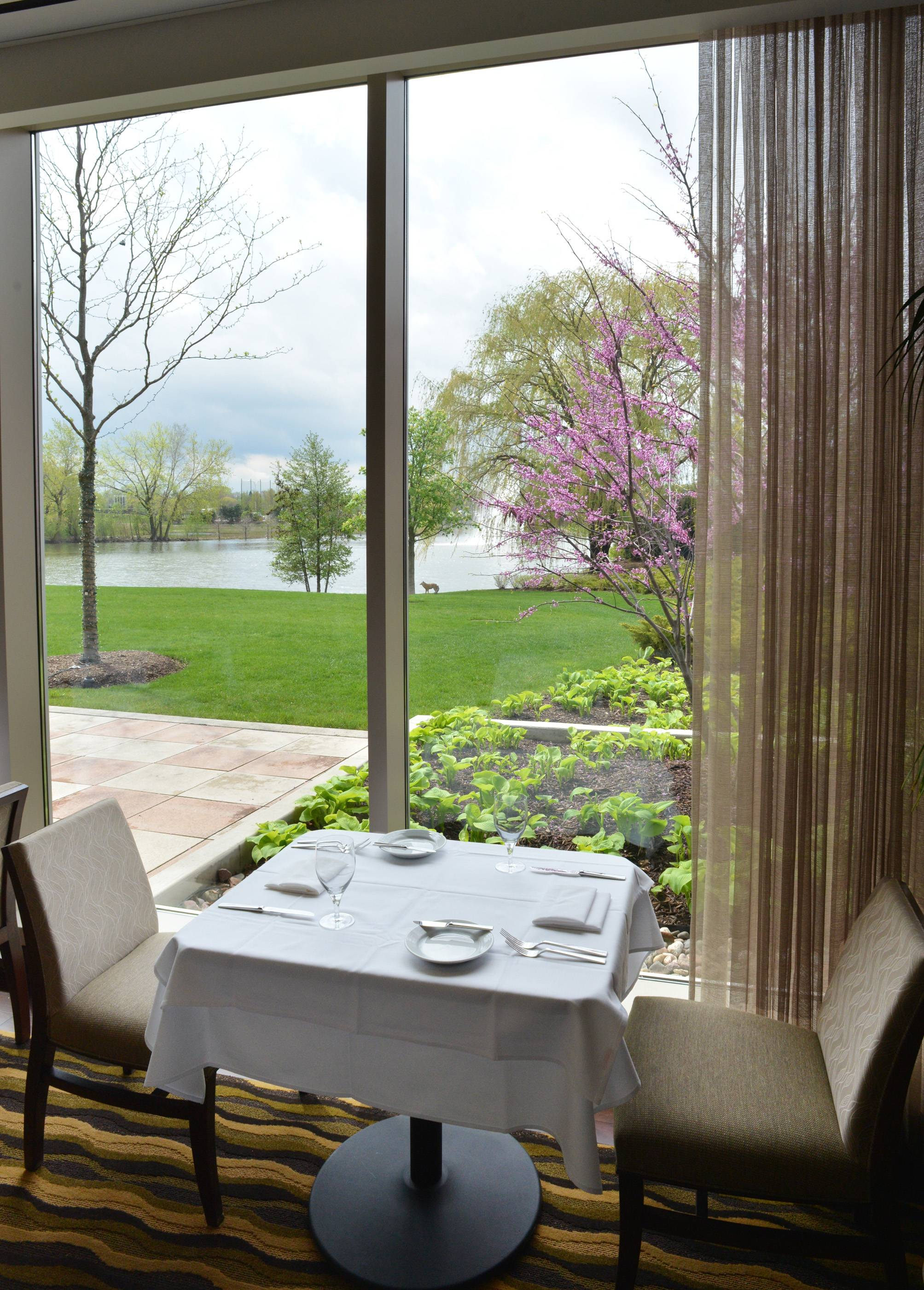 The dining room at Waterleaf overlooks a pond on the campus of College of DuPage in Glen Ellyn.