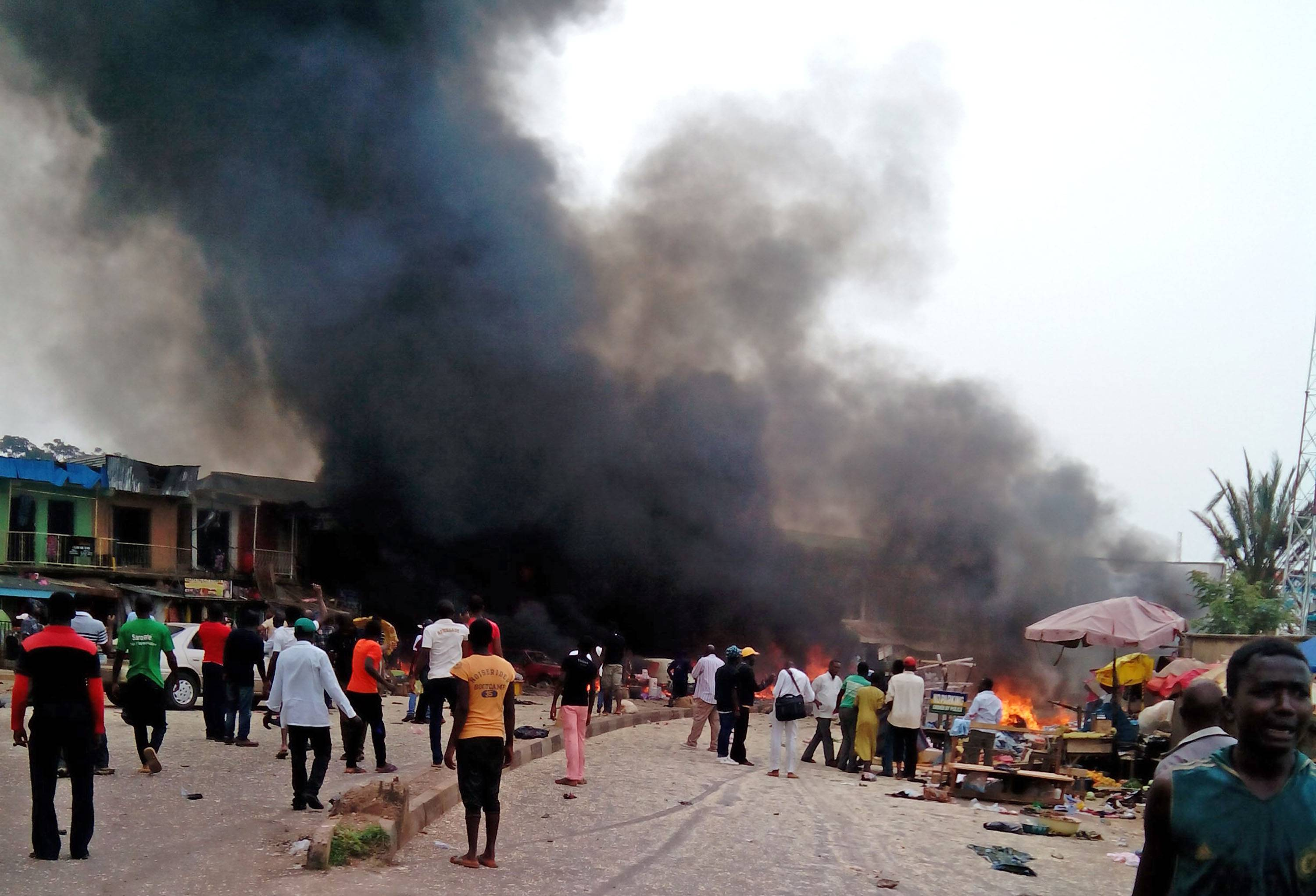 Two explosions ripped through a bustling bus terminal and market frequented by thousands of people in Nigeria's central city of Jos on Tuesday.