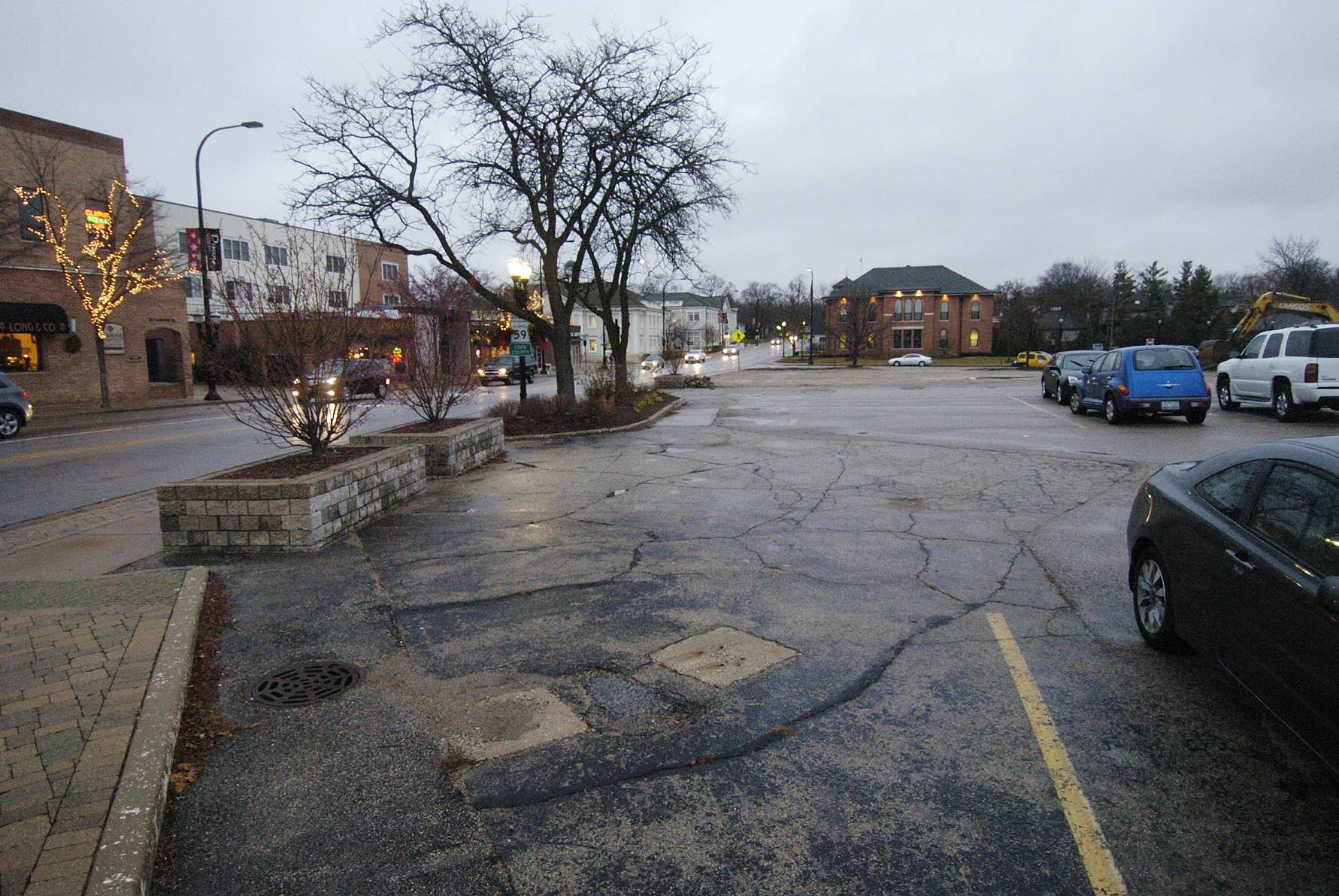 The still vacant southwest corner of Hough and Main Streets in downtown Barrington, looking south, where construction is hoped to begin near Labor Day for a long-awaited retail and restaurant redevelopment.
