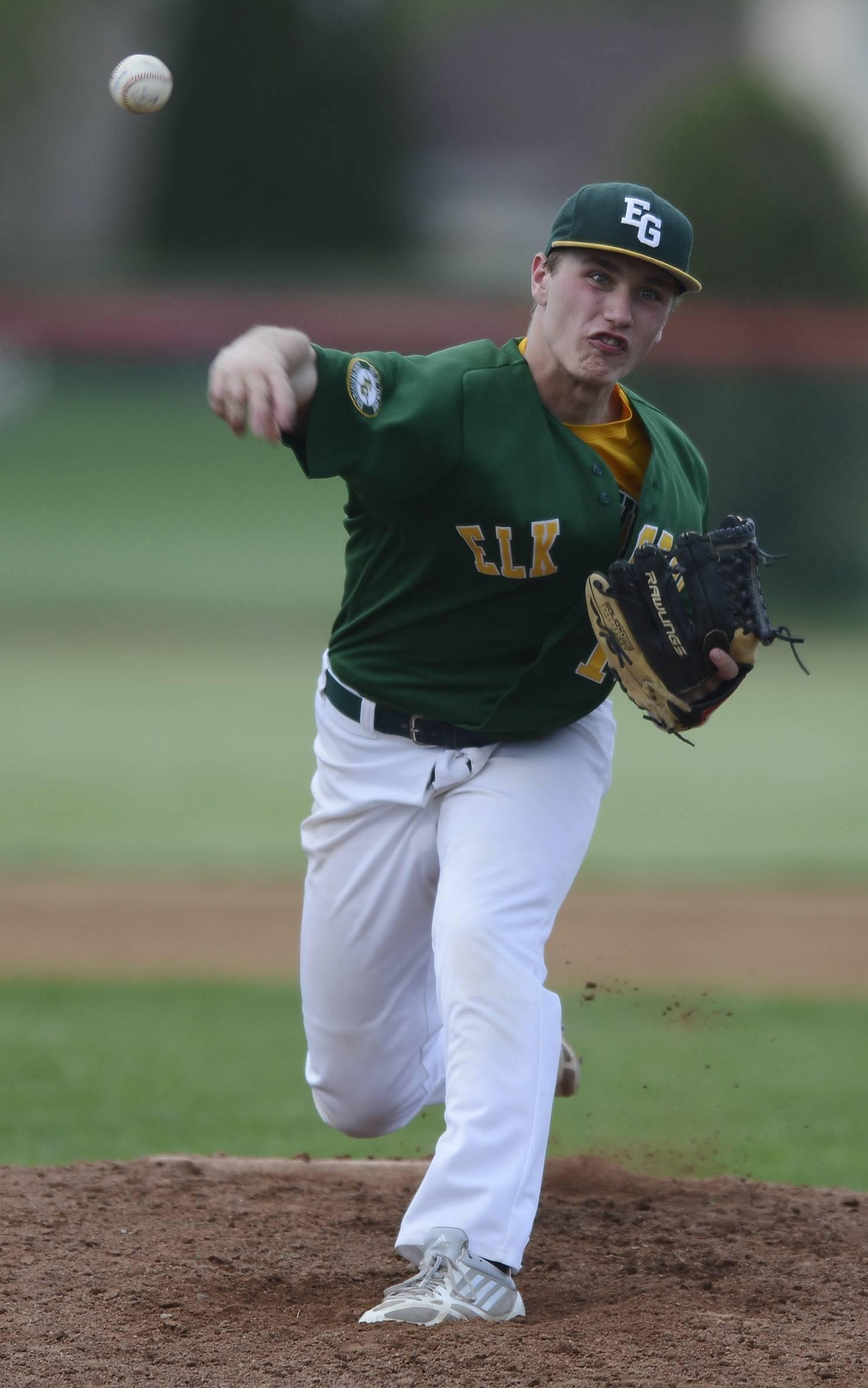 Elk Grove pitcher Adam O'Malley delivers during Tuesday's game at Palatine.