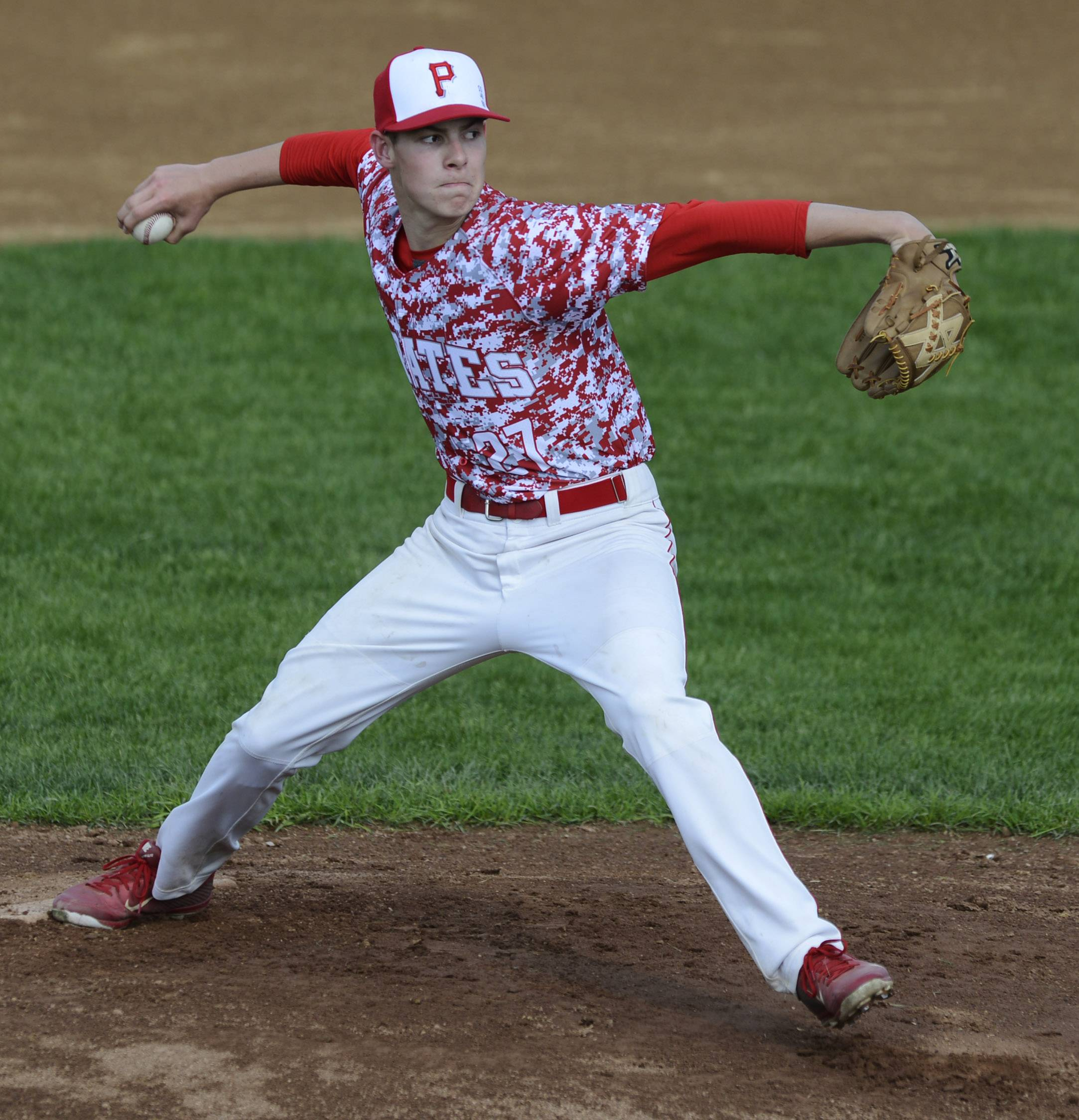 Palatine pitcher Alex Breytenbach delivers during Tuesday's home game against Elk Grove.