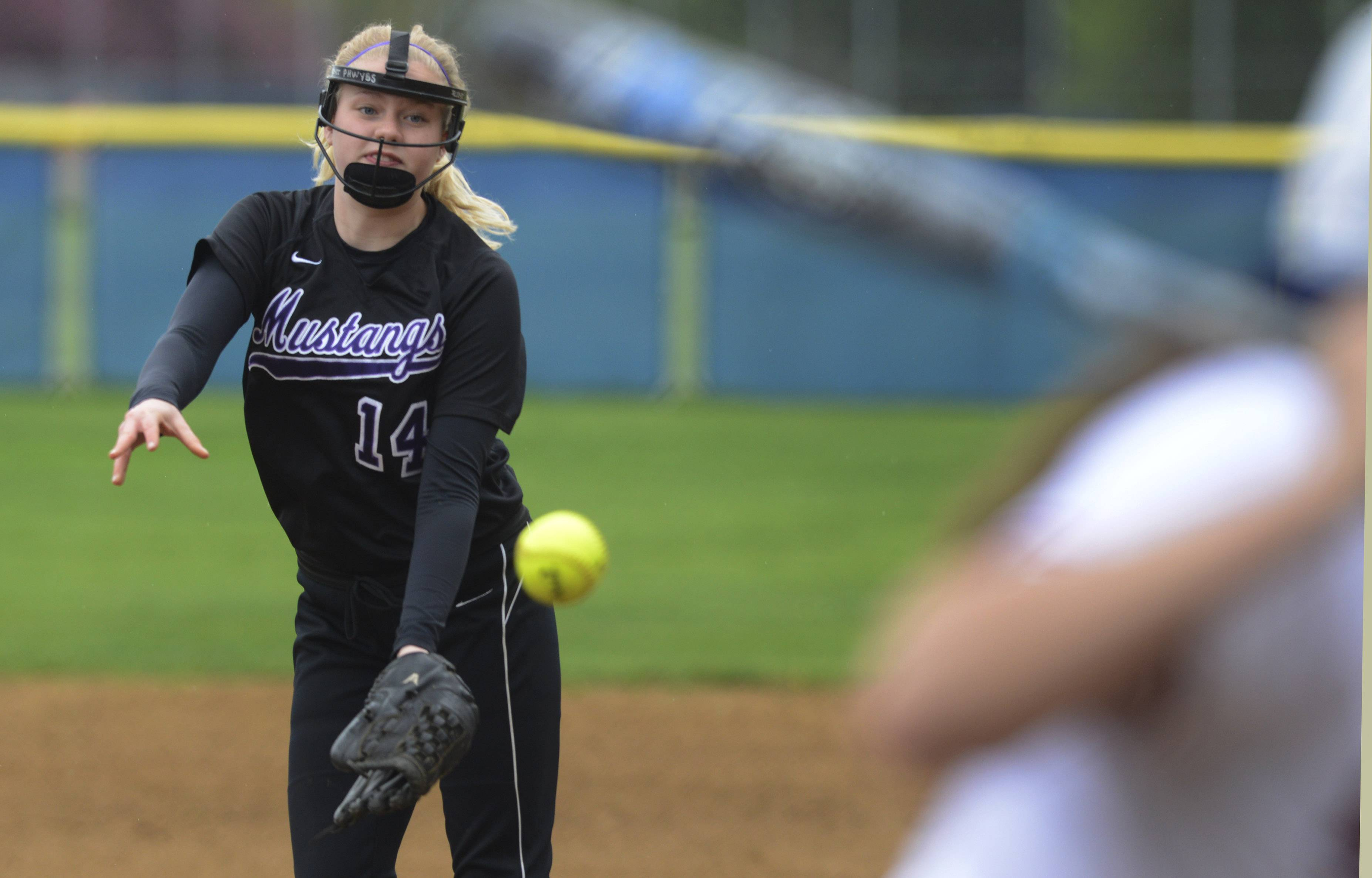 Rolling Meadows pitcher Lydia Schultz delivers to the plate during Tuesday's game against St. Viator in Arlington Heights.