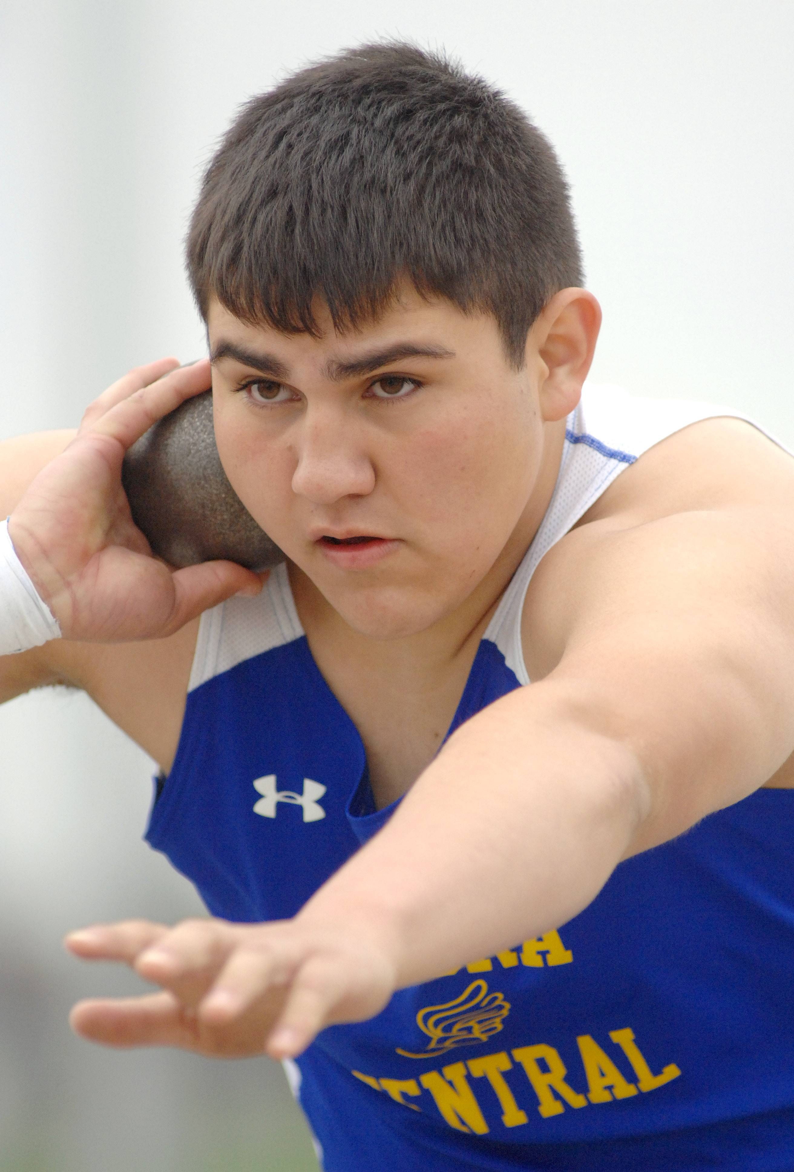 Aurora Central Catholic's Eduardo Gonzalez competes in the shot put finals in the Suburban Christian Boys Conference at Aurora Central Catholic.