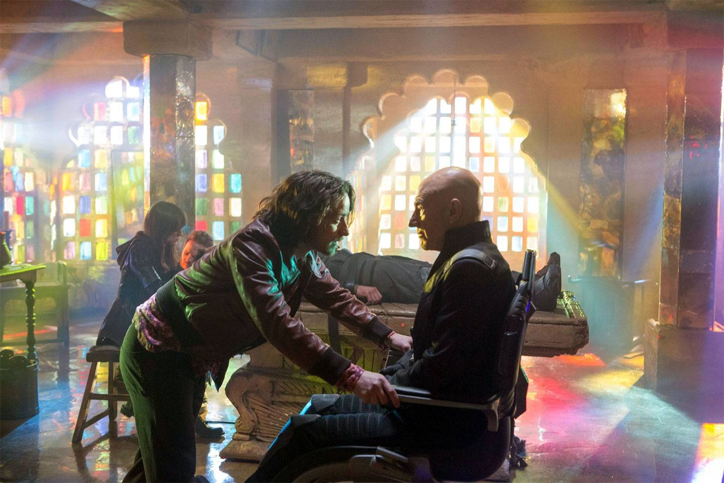 "Professor X (James McAvoy) meets his older self (Patrick Stewart) during a bizarre time-travel tale in ""X-Men: Days of Future Past."""