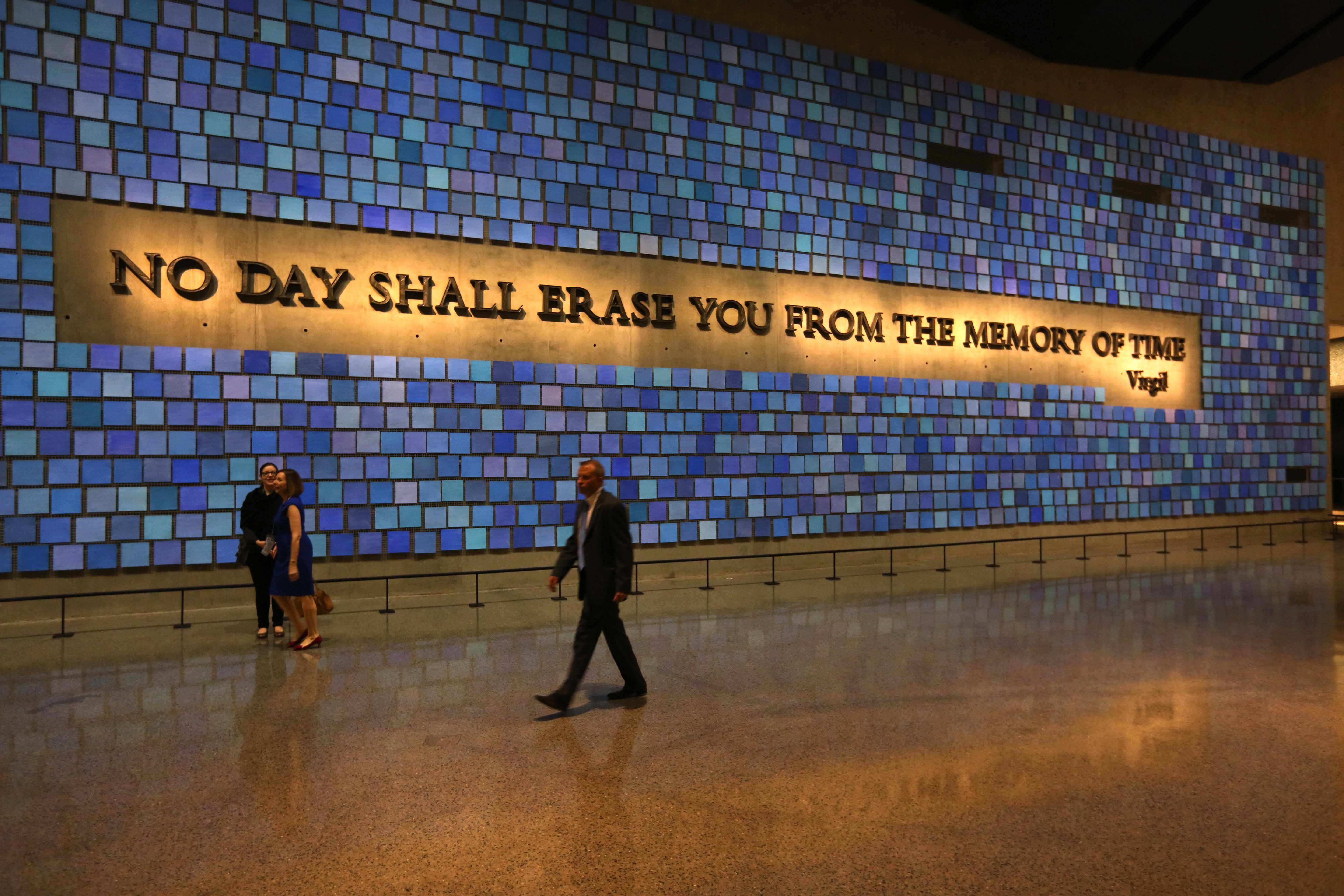 A quote from Virgil fills a wall of the National Sept. 11 Memorial Museum in New York. The museum was designed with the psychological well-being of the public in mind.