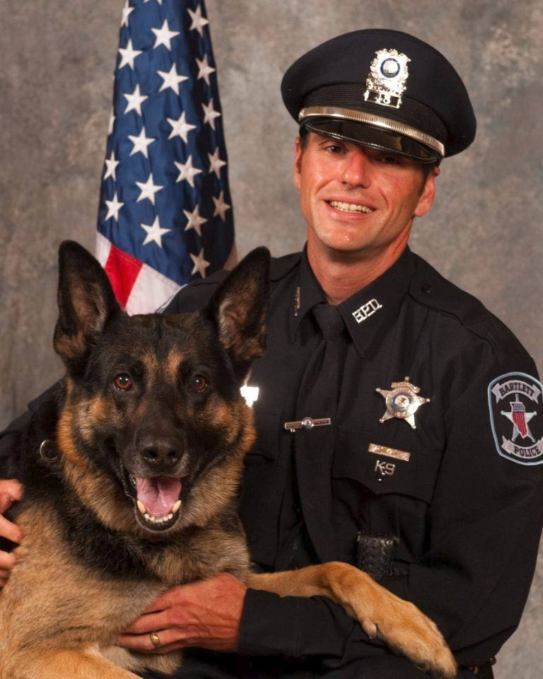 "Brewster, an 11-year-old German shepherd bred in Czechoslovakia, is retiring from Bartlett police's canine unit. ""He is not just my partner, he's part of my family,"" said his handler, officer Michael Kmiecik."