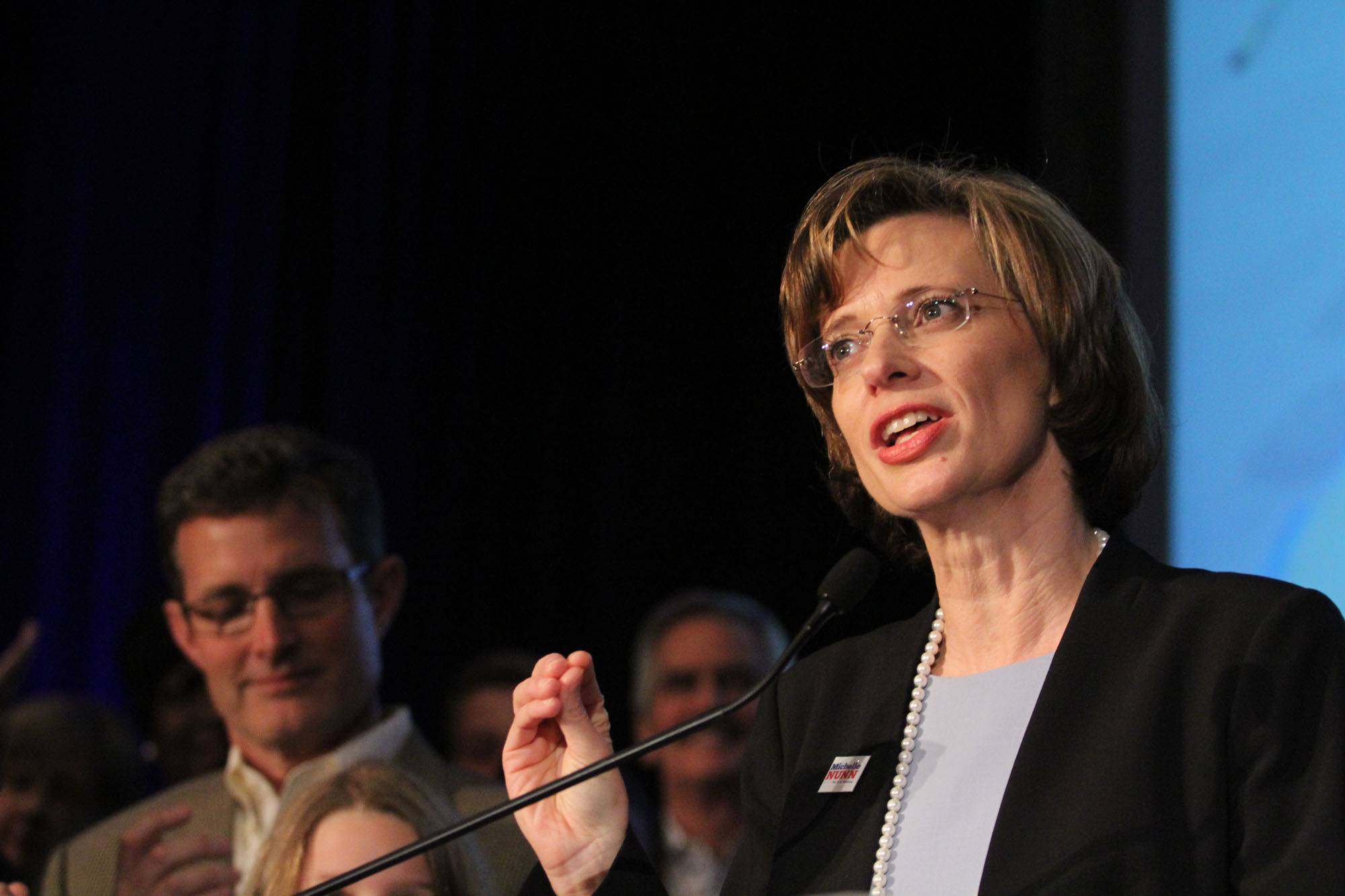 Democratic candidate for Senate Michelle Nunn speaks to supporters after her primary win was announced at an election-night watch party Tuesday in Atlanta.