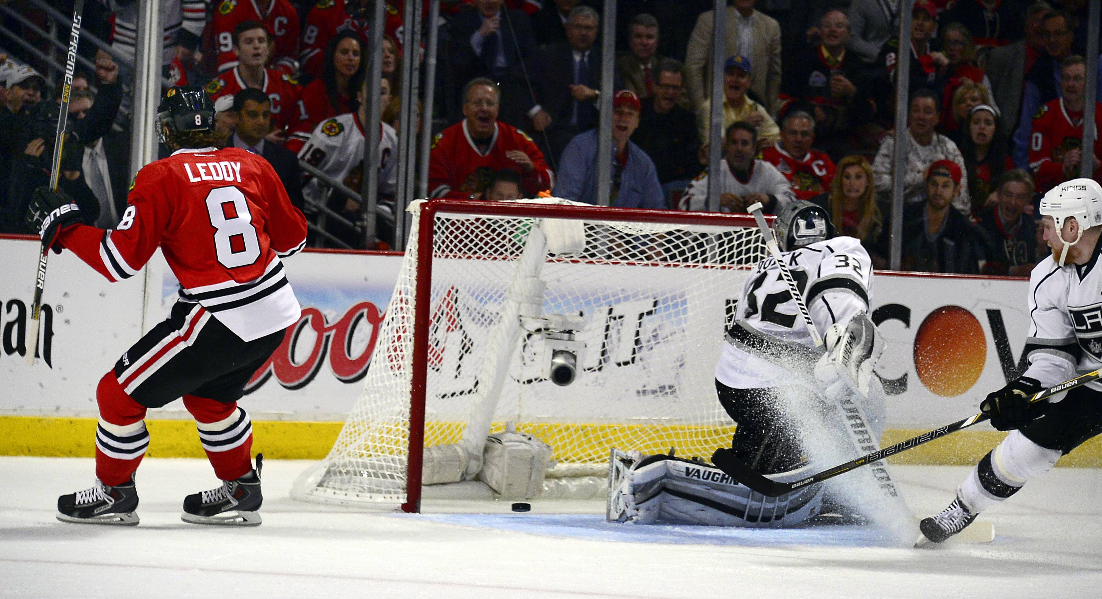 Nick Leddy delivers the first goal for the Blackhawks against the Kings on Wednesday night at the United Center. The Hawks dropped Game 2 of the Western Conference finals 6-2, and the series is tied at 1-1 heading to Los Angeles.