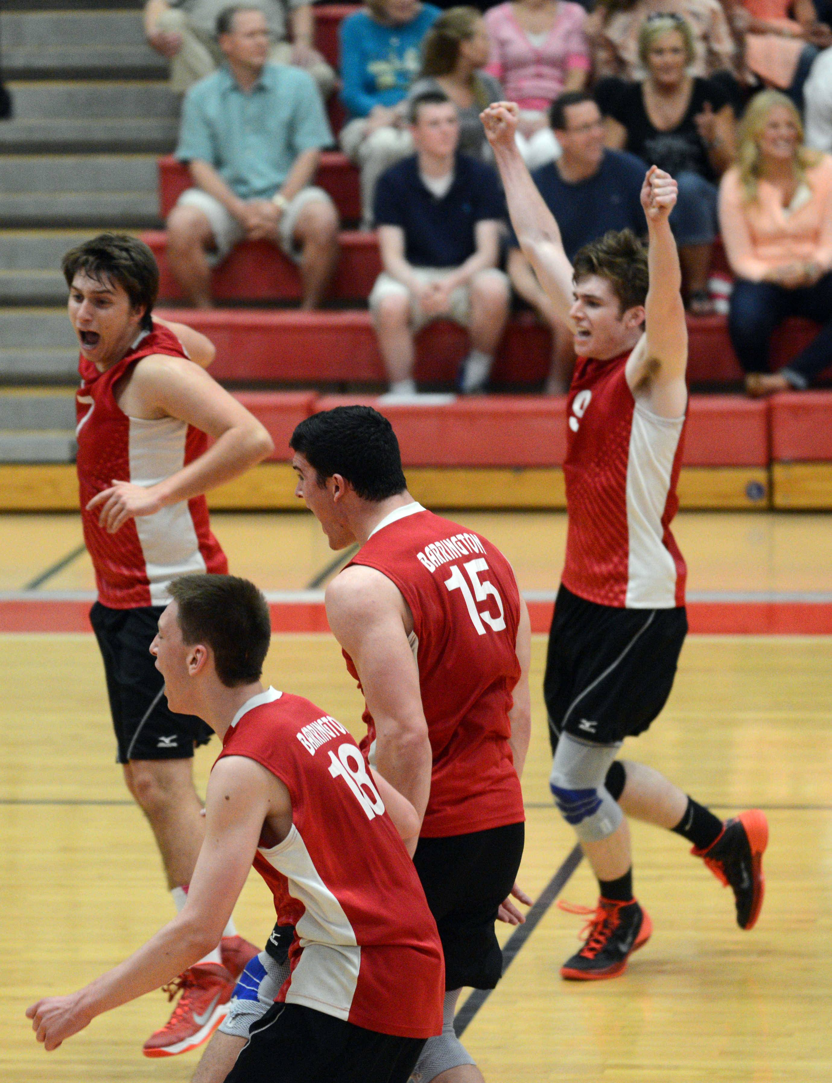 Barrington players begin to celebrate their win over Hersey in the MSL championship match.