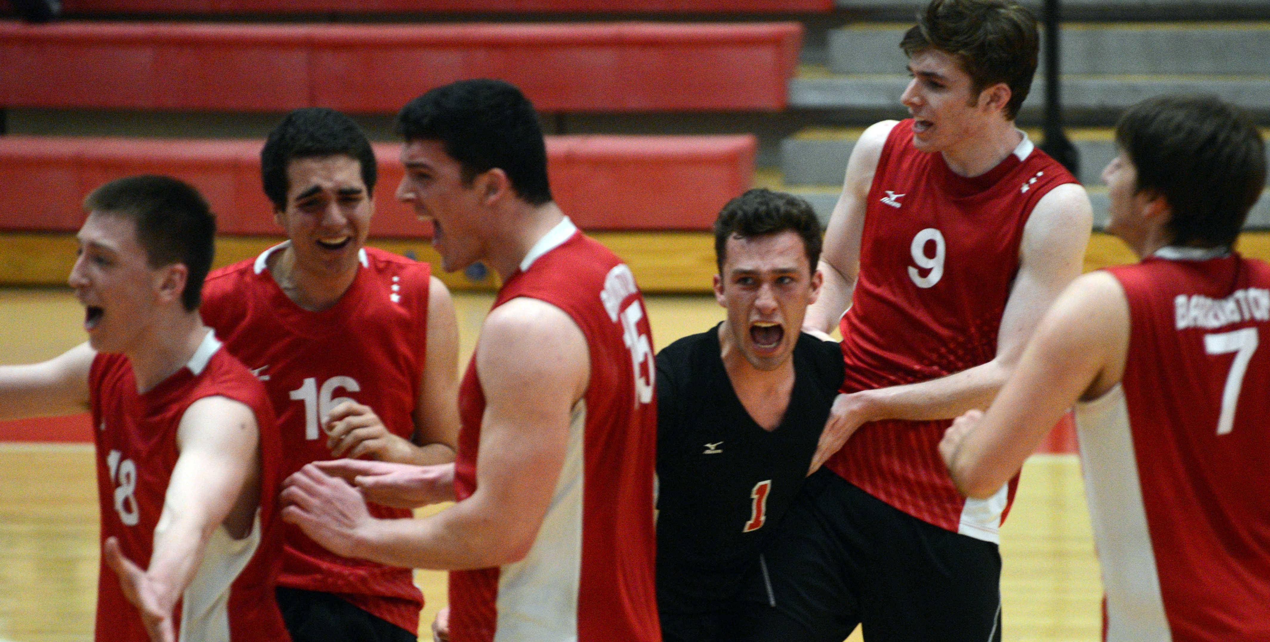 Barrington players celebrate their win over Hersey in the MSL championship match.