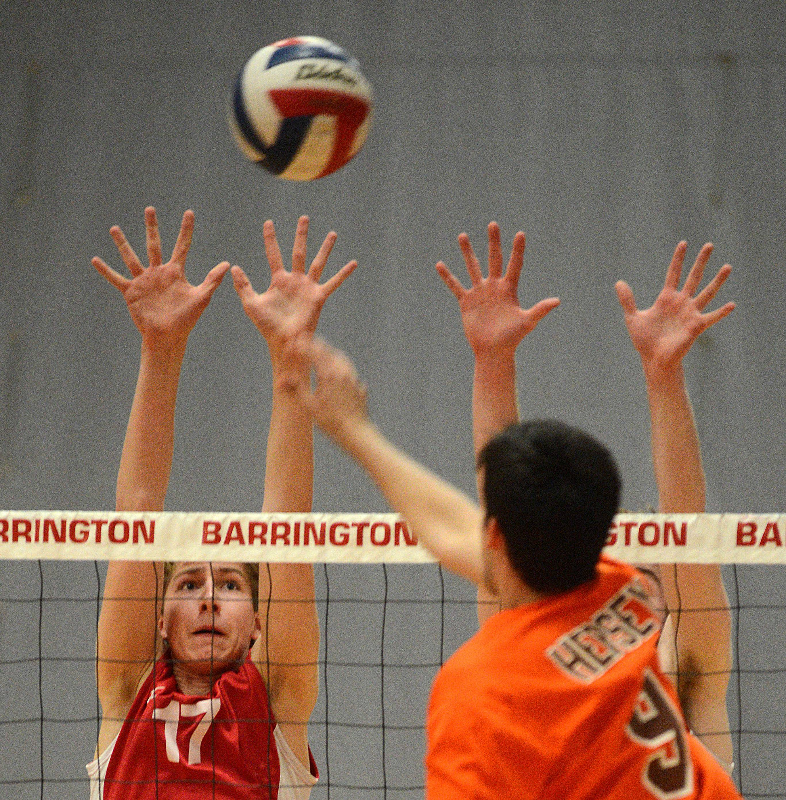 Barrington's Ethan Carroll, left, blocks Hersey's Matt Aguilar during Wednesday's MSL championship match.