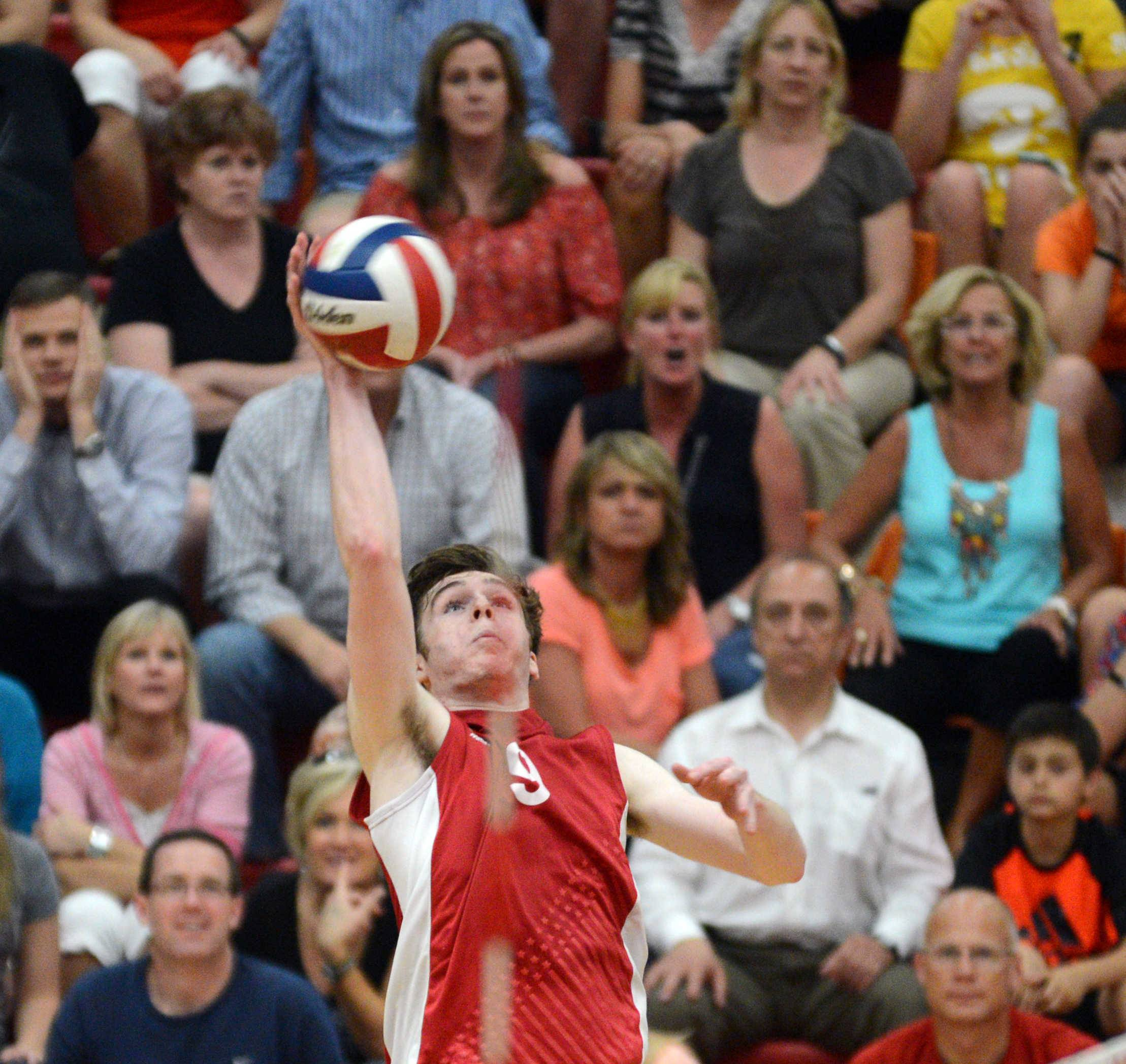 Barrington's Connor Wright prepares to hit the ball against Hersey during Wednesday's MSL championship match.