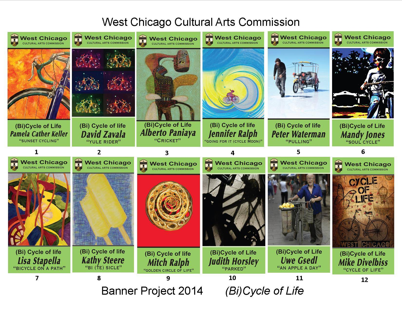 A brochure which features the 2014 Community Art Banner Project is available with a companion map identifying their locations on Main Street in West Chicago. Visit www.westchicago.org for all the details.