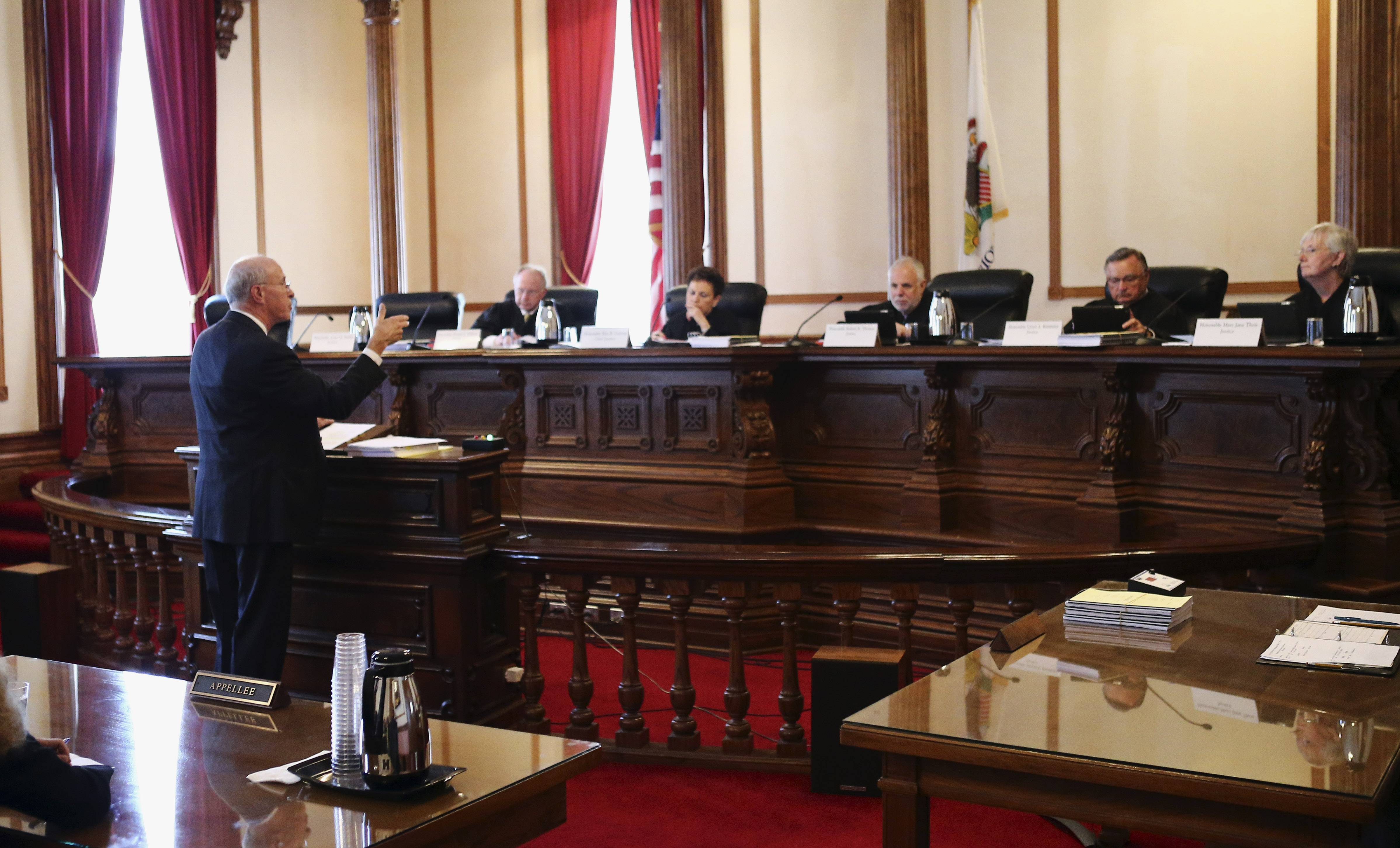 Attorney Michael Reagan speaks on behalf of the appellant before the Illinois Supreme Court during oral arguments on Wednesday at the historic Third District Appellate Courthouse in Ottawa.