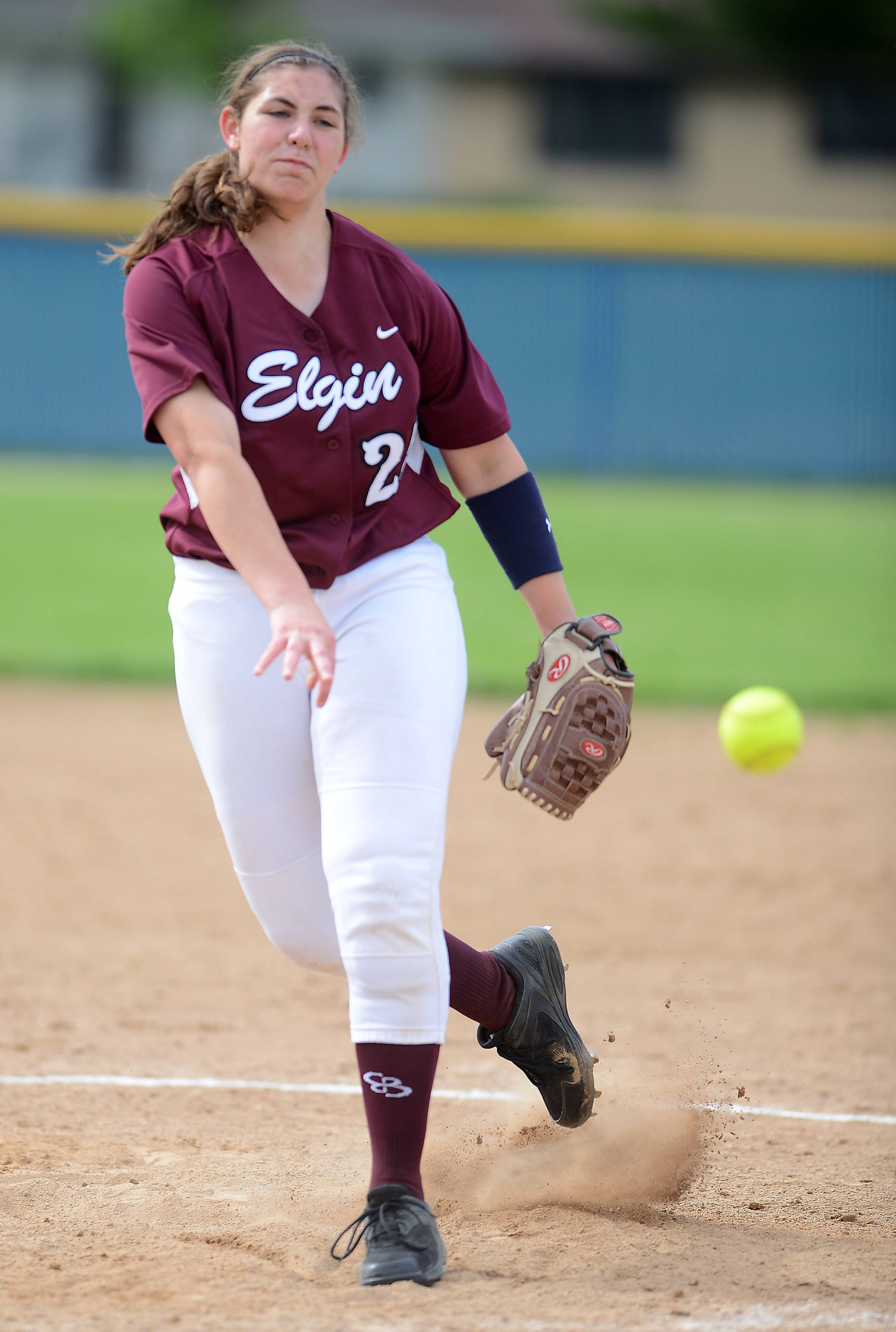 Elgin's Jessica Rago (25) delivers a pitch during Thursday's game at Larkin in Elgin.