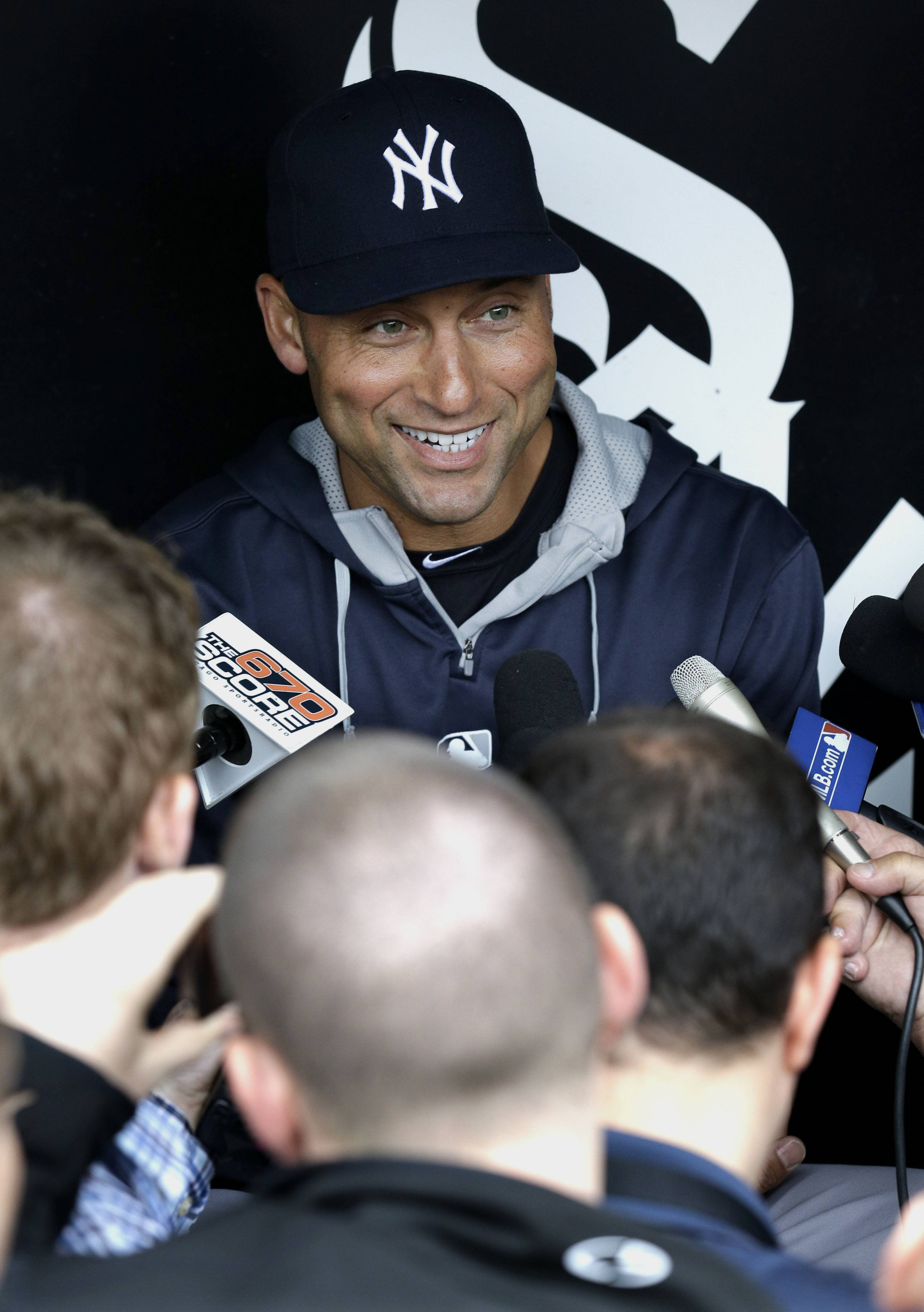 New York Yankees infielder Derek Jeter smiles as he talks to media at a news conference before a baseball game against the Chicago White Sox in Chicago on Thursday, May 22, 2014. (AP Photo/Nam Y. Huh)