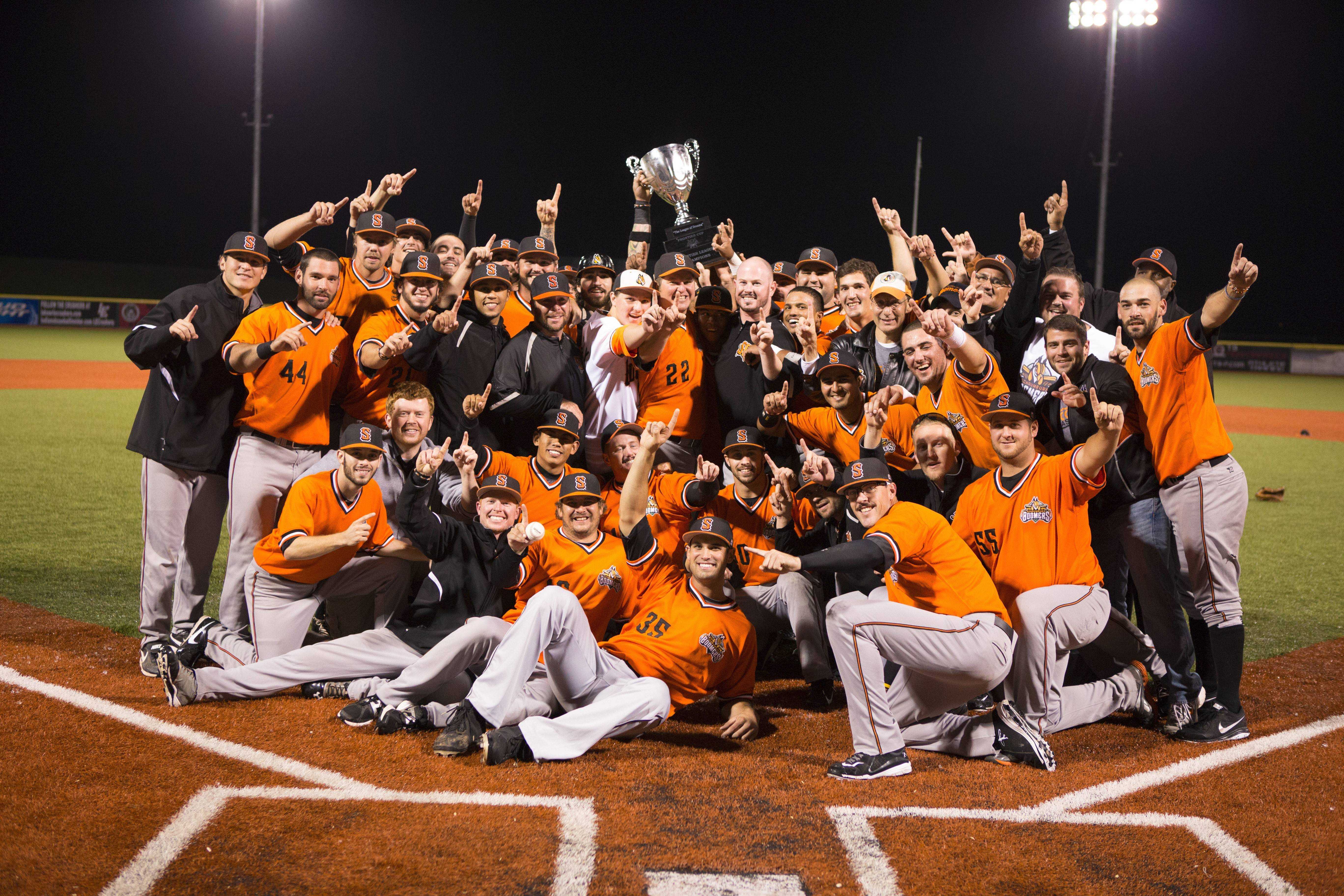 The Schaumburg Boomers celebrate after they won the team's first Frontier League championship last season. The 2014 Boomers make their home debut Friday with a three-game series against the Florence Freedom.