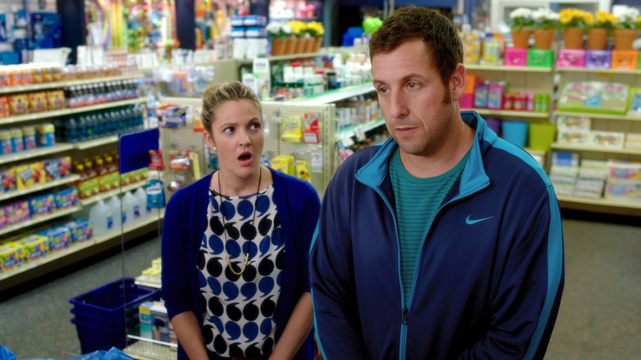 "Lauren (Drew Barrymore) can't believe the nerve of her blind date Jim (Adam Sandler) in the rom-com ""Blended."""