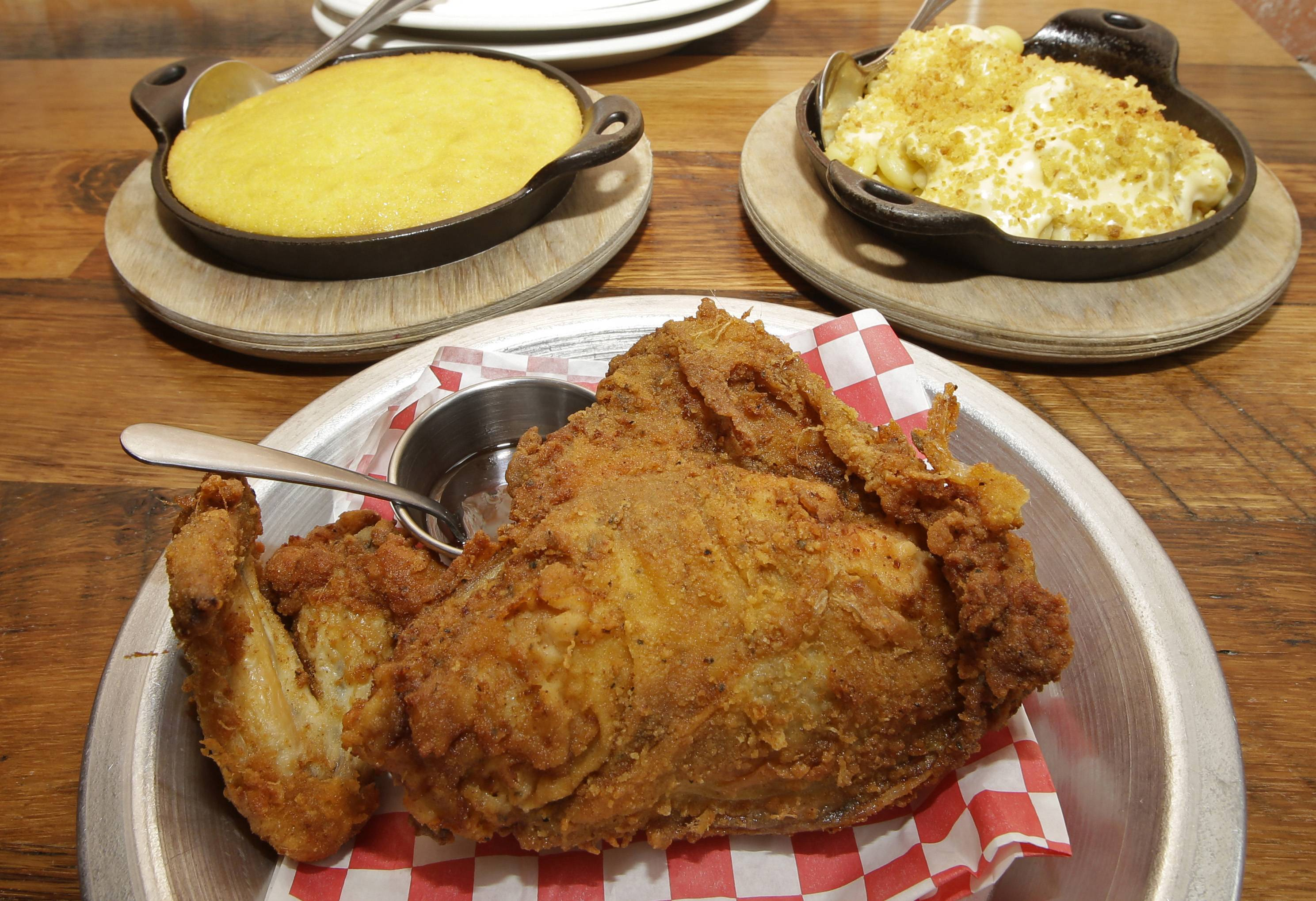 If you visit Cincinnati, it's worth it to make the trip to the Over-the-Rhine neighborhood for the fried chicken and side dishes like spoonbread and mac and cheese at The Eagle.