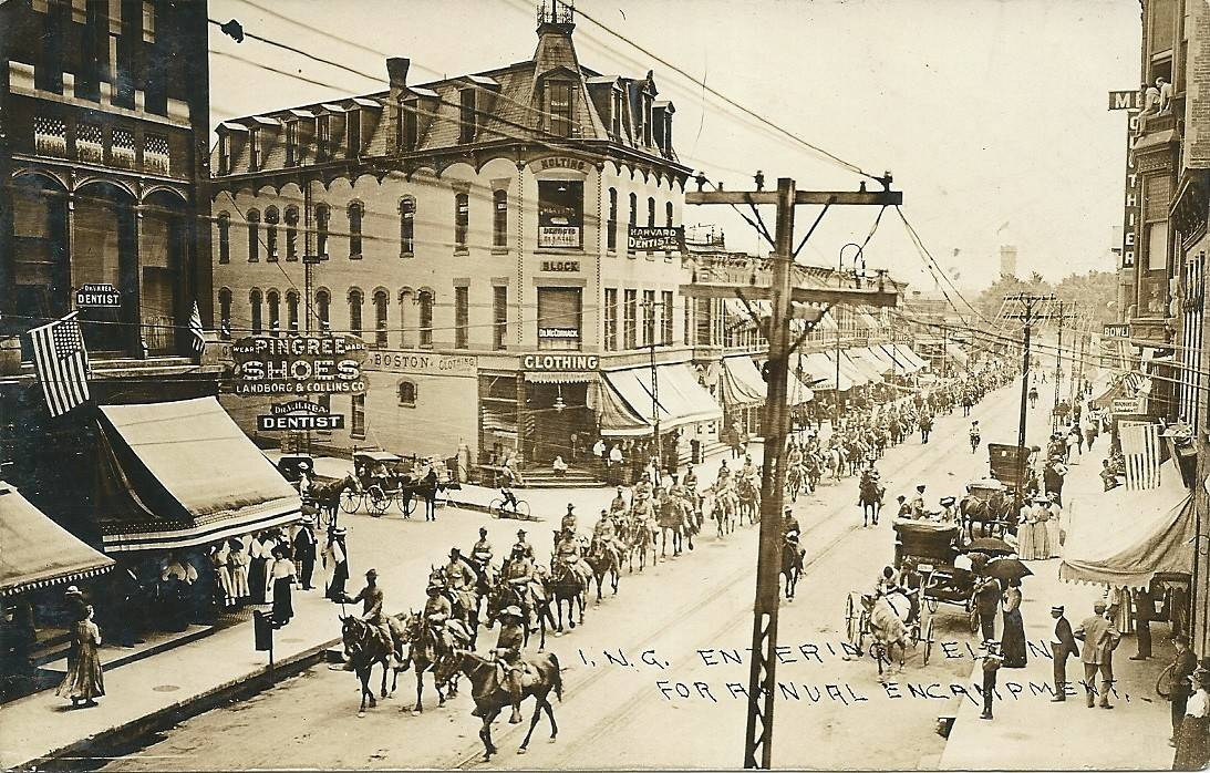 Illinois National Guardsmen march north on Grove Avenue near DuPage Street in 1909 headed to an encampment at Elgin's Wing Park.