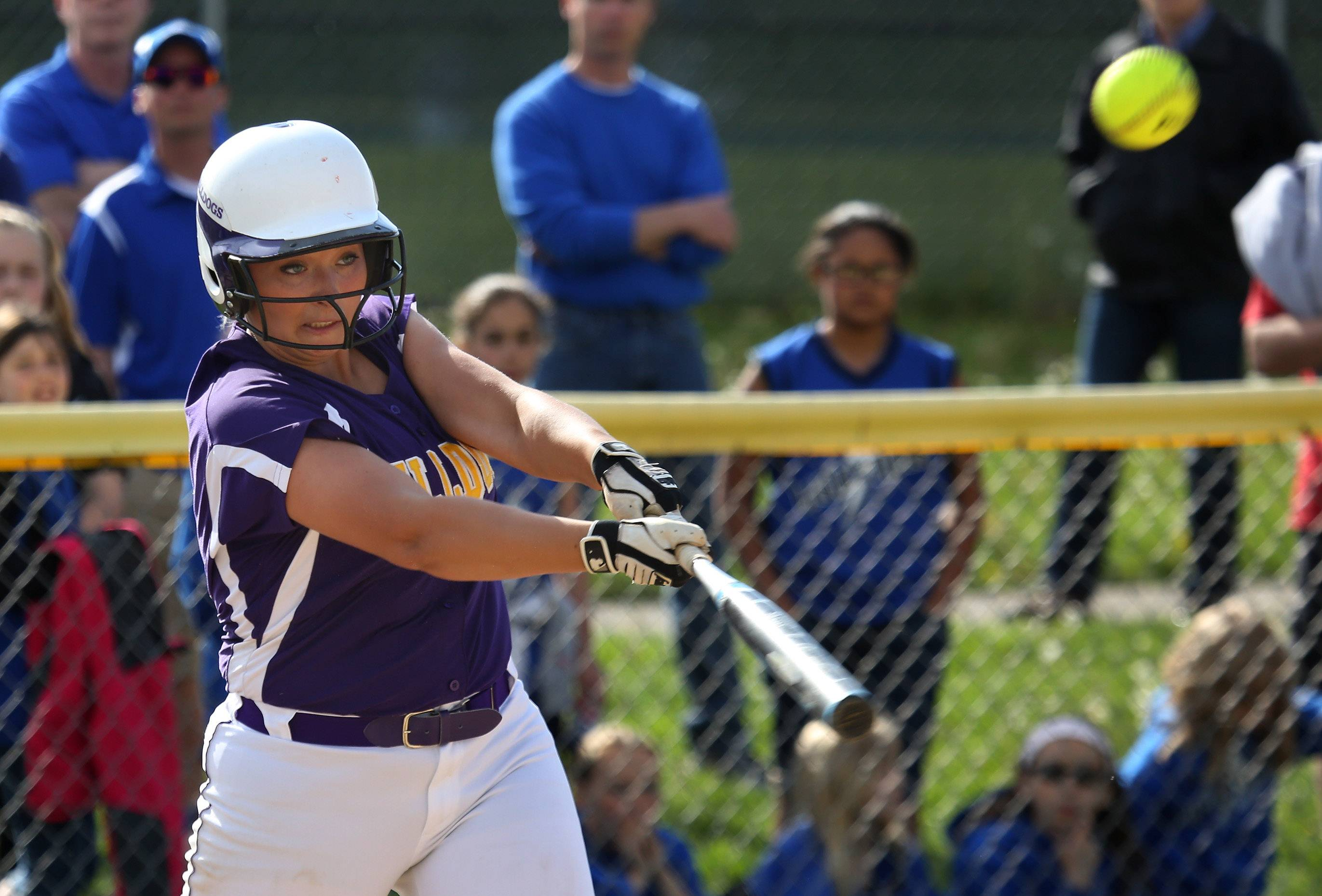 Wauconda batter Angie Exline hits a double in the second inning during Thursday's NSC championship game at Wauconda.