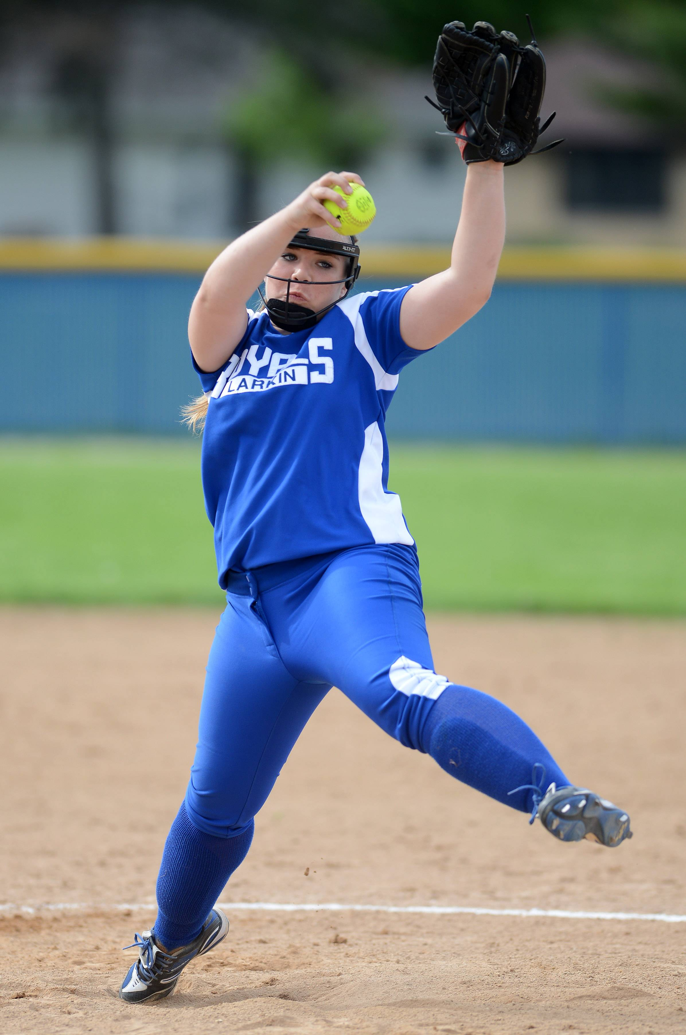 Larkin's Sarah Hansen (12) delivers a pitch during Thursday's game at Larkin in Elgin.
