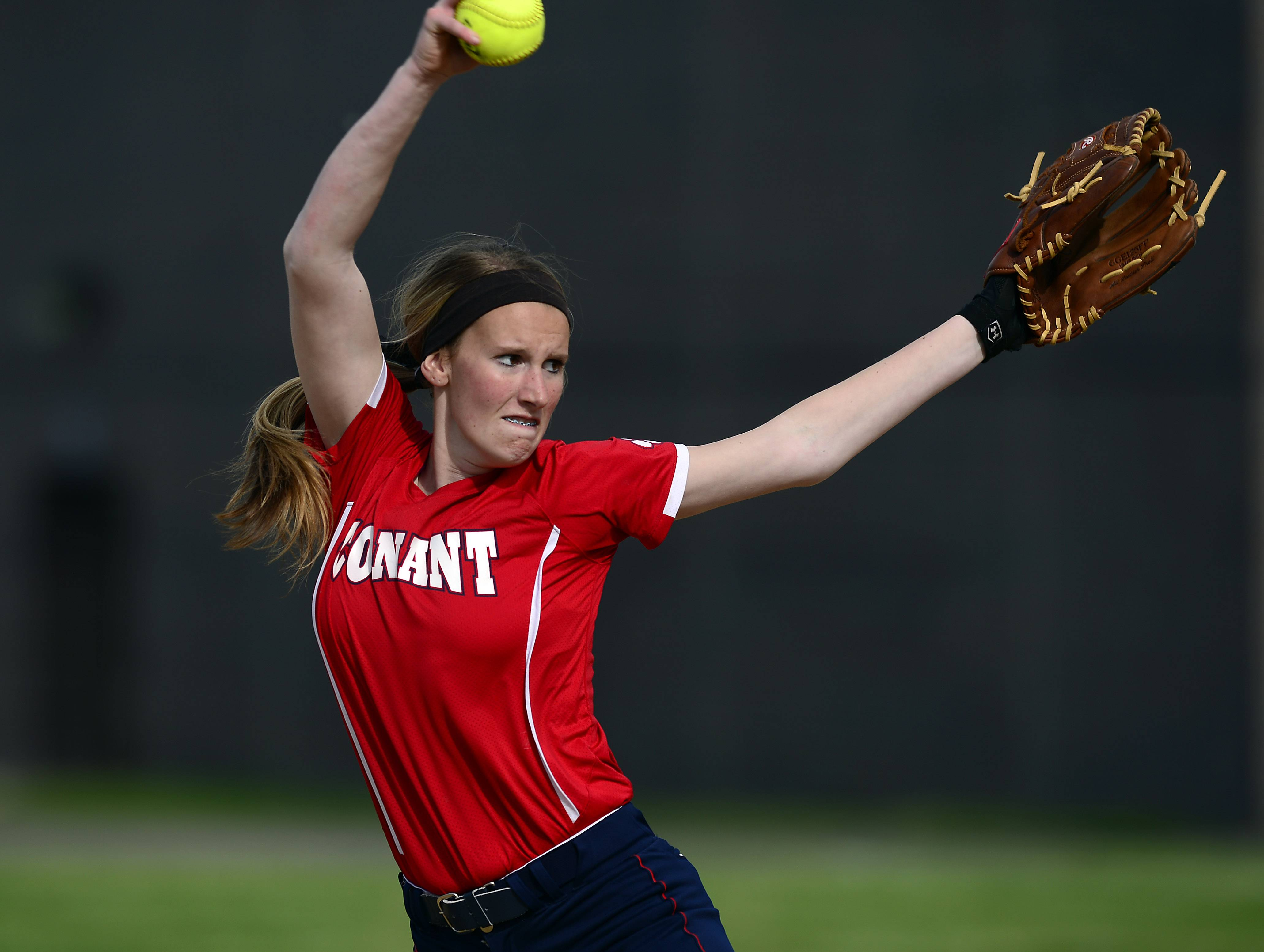 Conant pitcher Kali Schumacher fires with confidence early on in the Mid-Suburban League championship softball game against Buffalo Grove at Conant on Thursday.