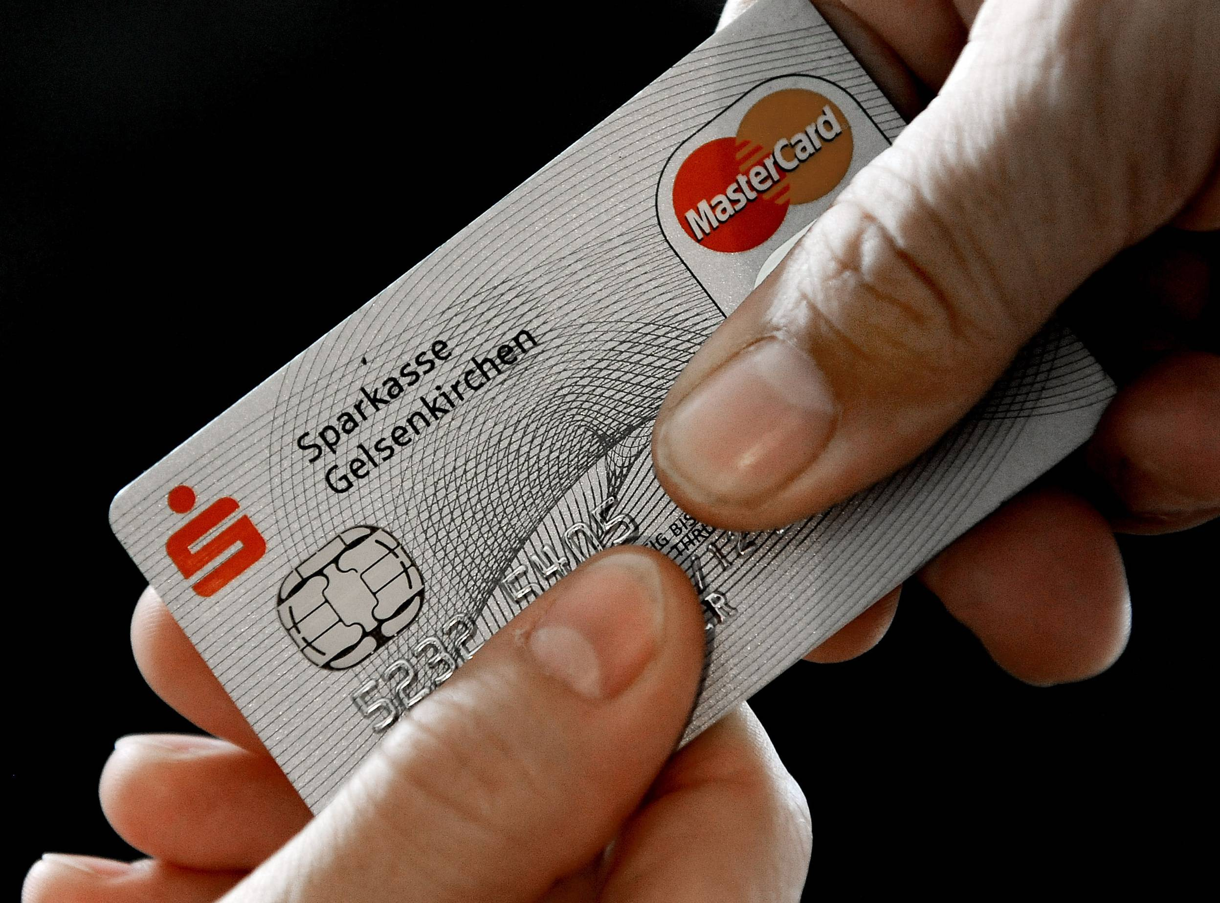 A Mastercard chip-based credit card in Gelsenkirchen, Germany.