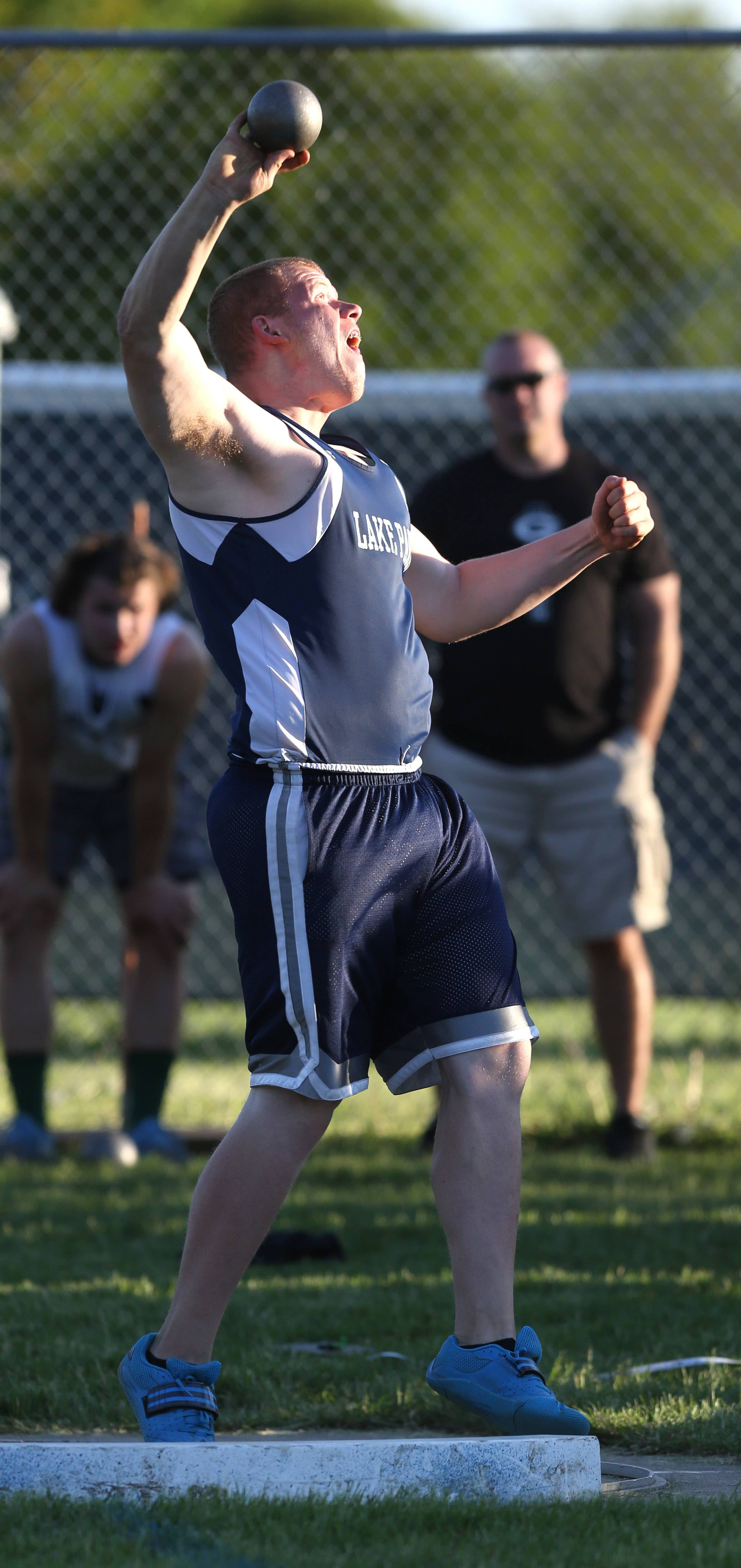 Lake Park's Mike Prestigiacomo finishes second in the shot put during the Lake Park Boys Track & Feld Sectional Championships.