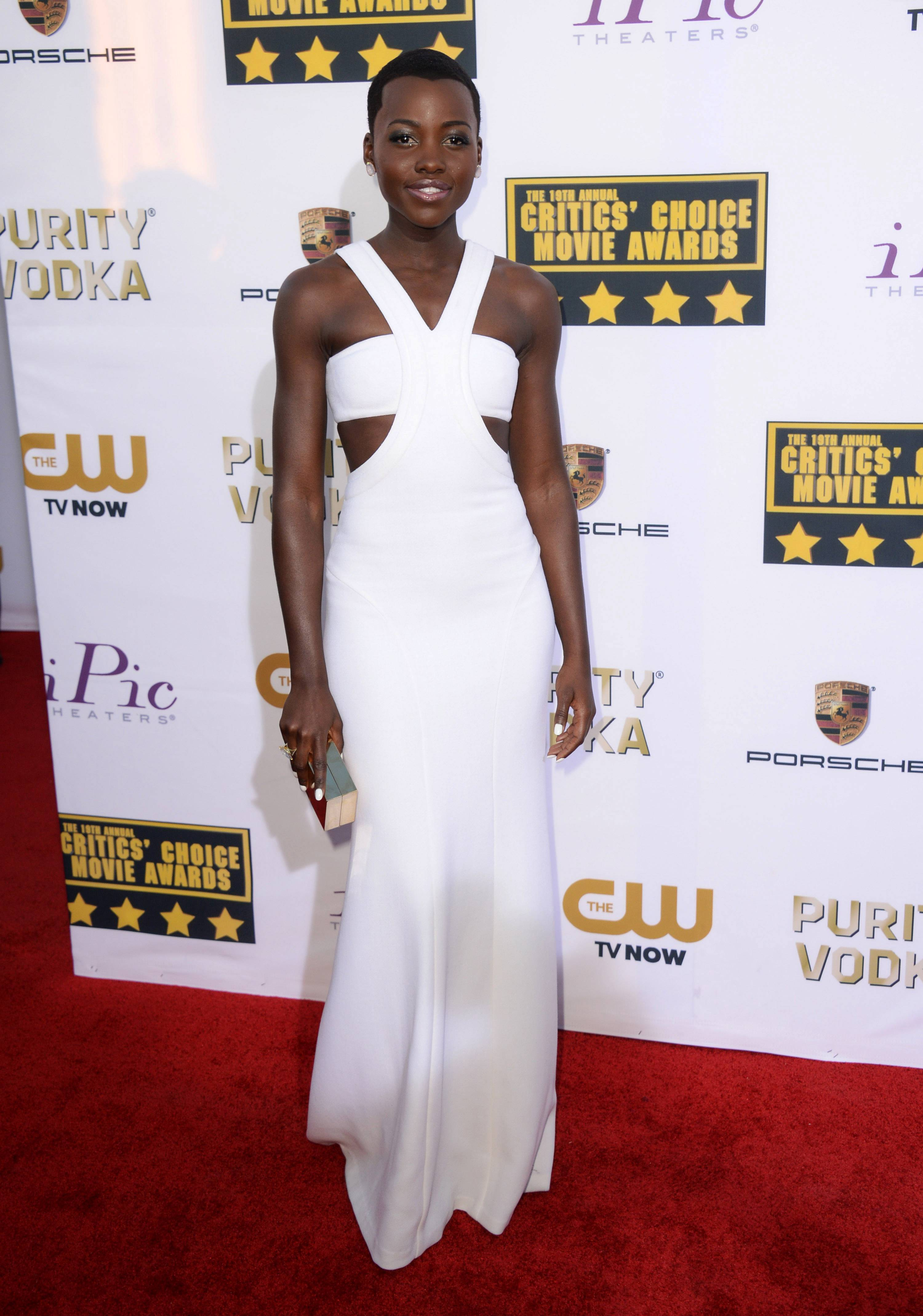 Actress Lupita Nyong'o wore a white gown at the 19th annual Critics' Choice Movie Awards in January.