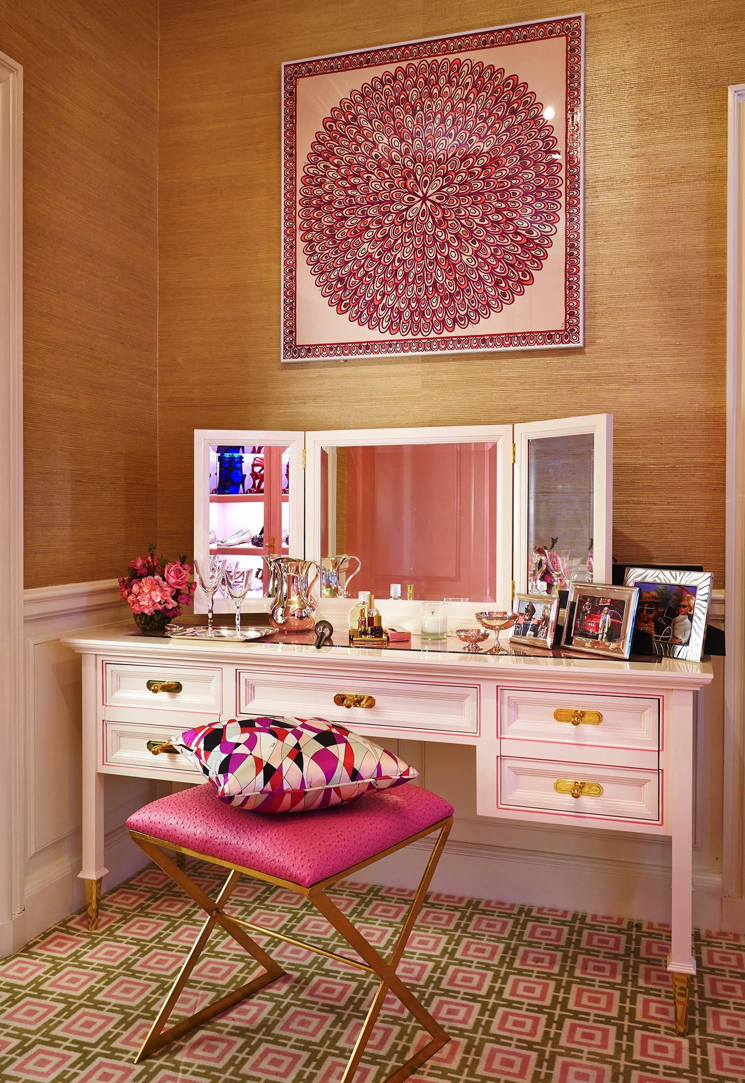 "Room 10 of the Kips Bay Show House 2014 in New York is ""Lady Penelope's Dressing Room"" by Christopher Peacock. The framed Pucci silk scarf is a 1960s design once worn by Brigitte Bardot in Cannes."