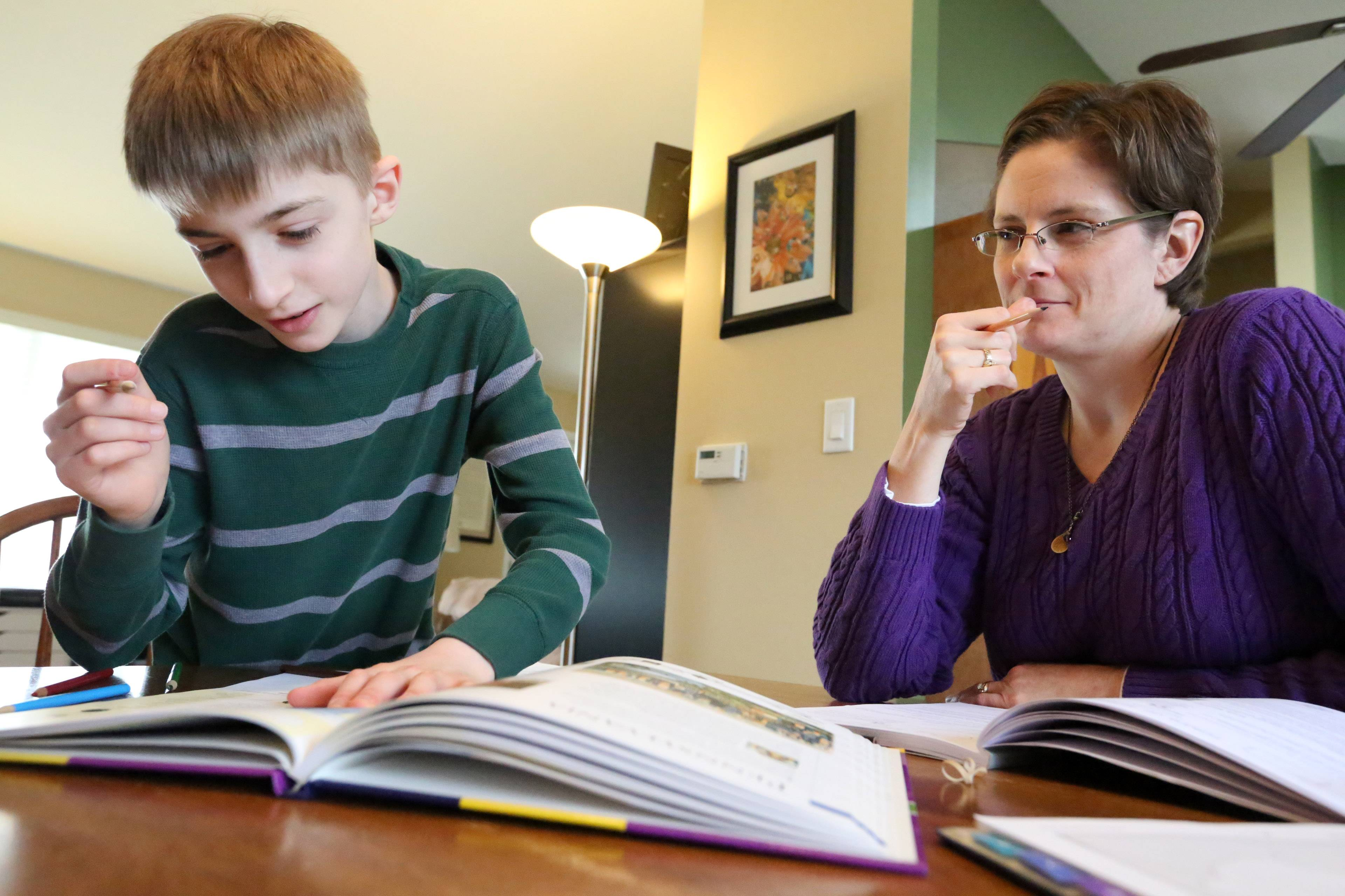 Andy Merrill studies geography with his mother, Jenny, during a home-school session in Libertyville.
