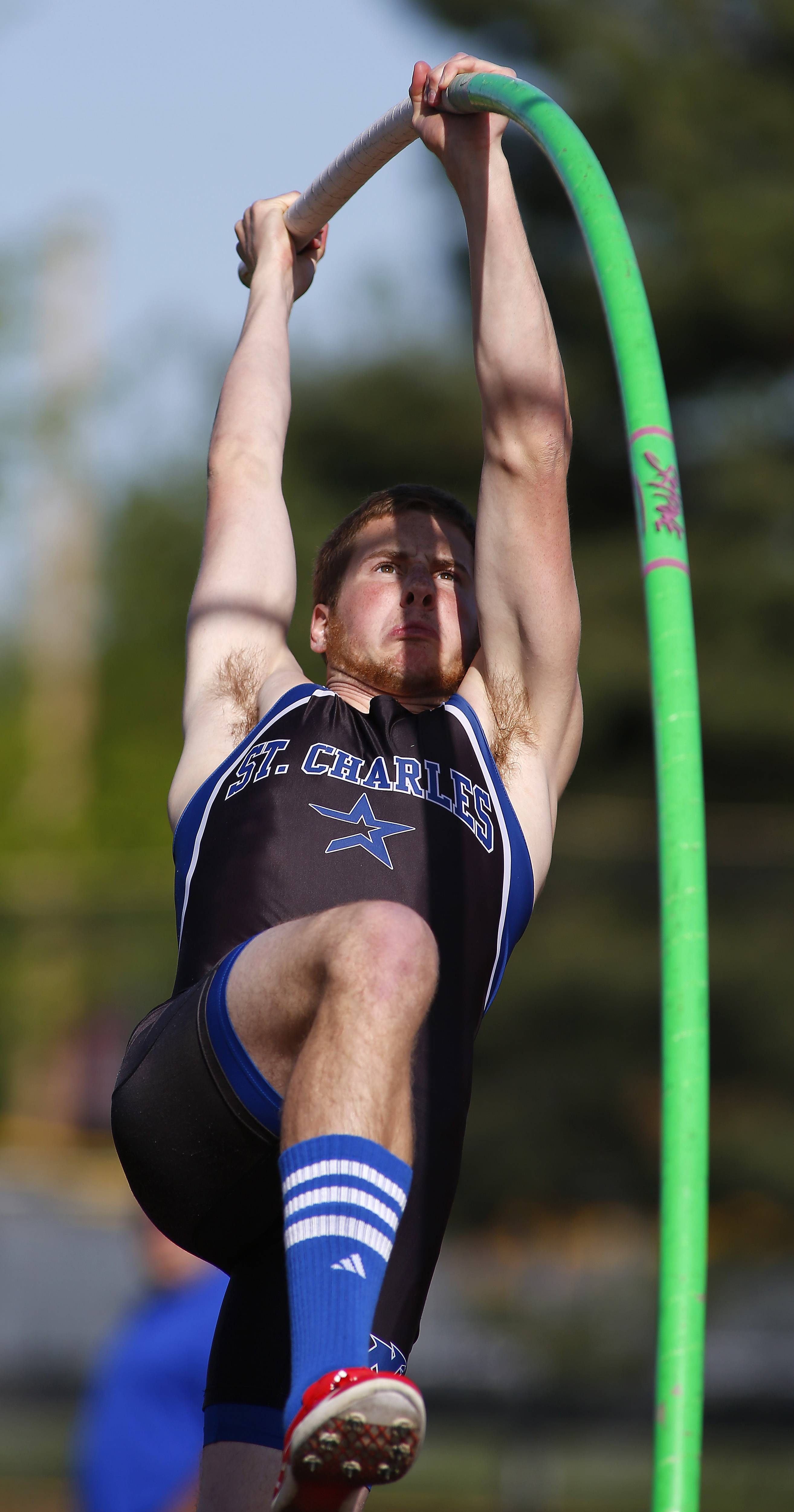 St. Charles North's Drew Egger competes in the pole vault during the Class 3A Bartlett boys track sectional Friday at Memorial Field in Elgin.