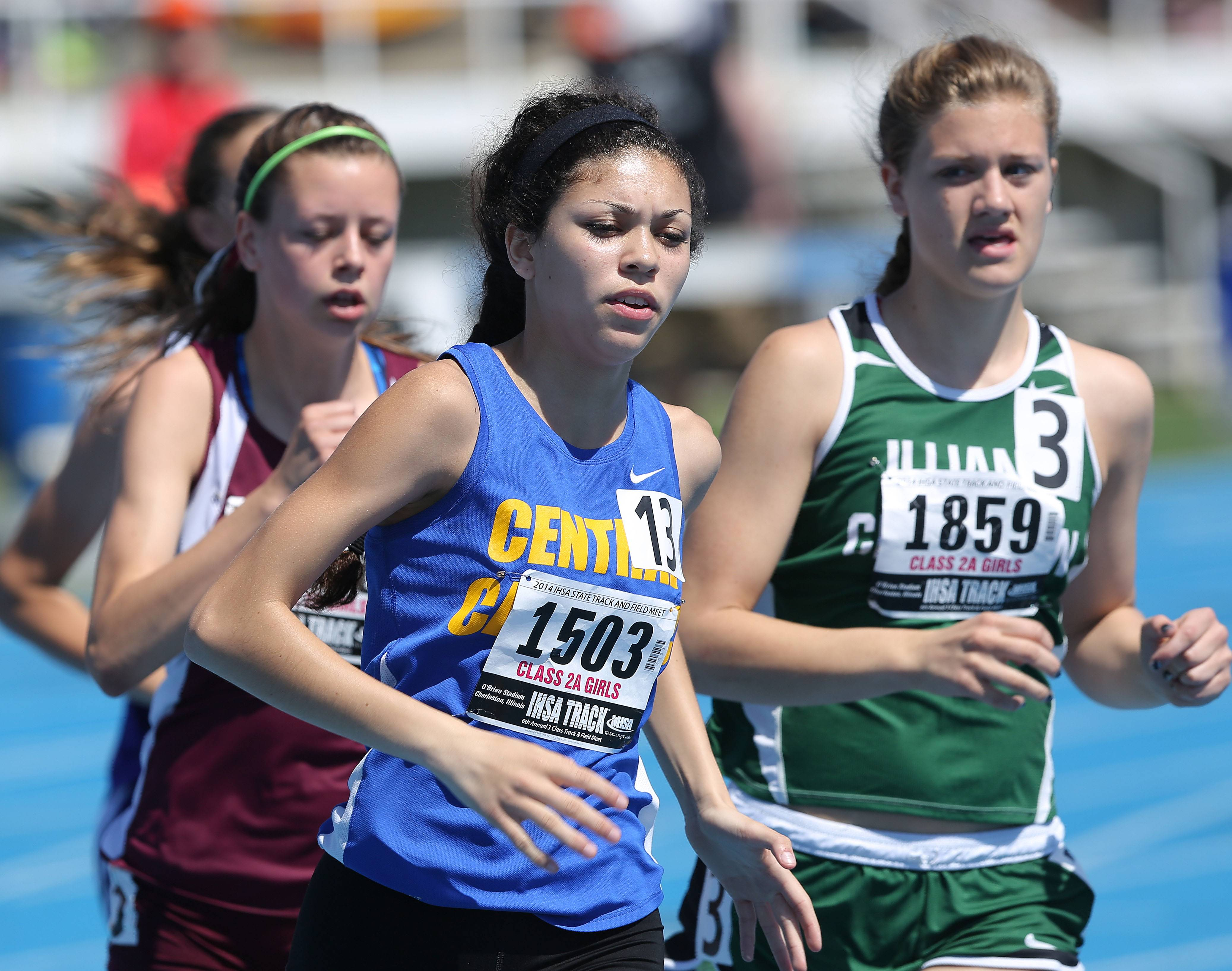 Aurora Central Catholic's Karina Liz runs in the 800-meter run during the prelims of the girls track and field state meet at Eastern Illinois University in Charleston Friday.