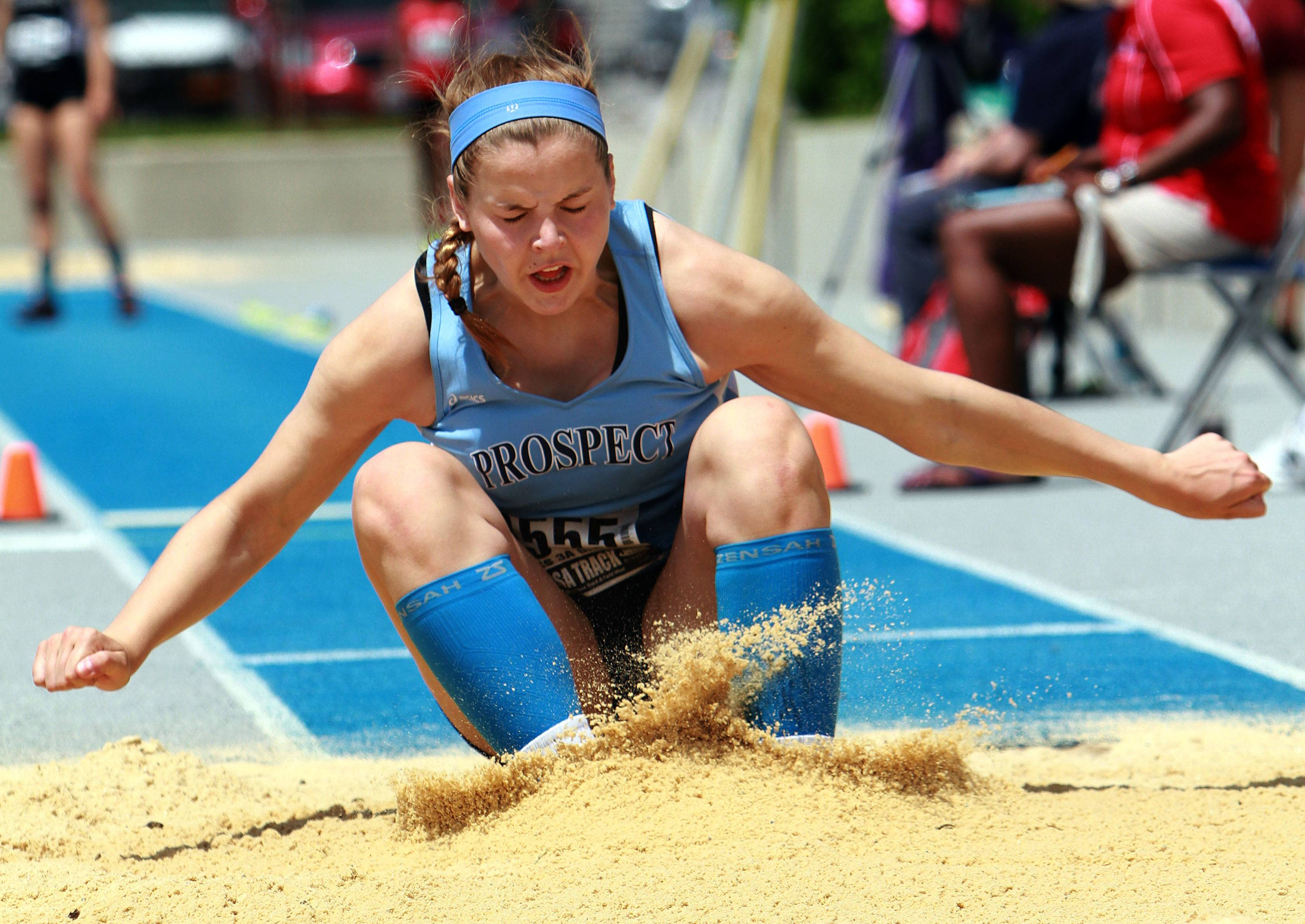 Prospect's Catherine Sherwood competes in the triple jump during the Class 3A prelims of the girls track and field state meet at Eastern Illinois University in Charleston on Friday.