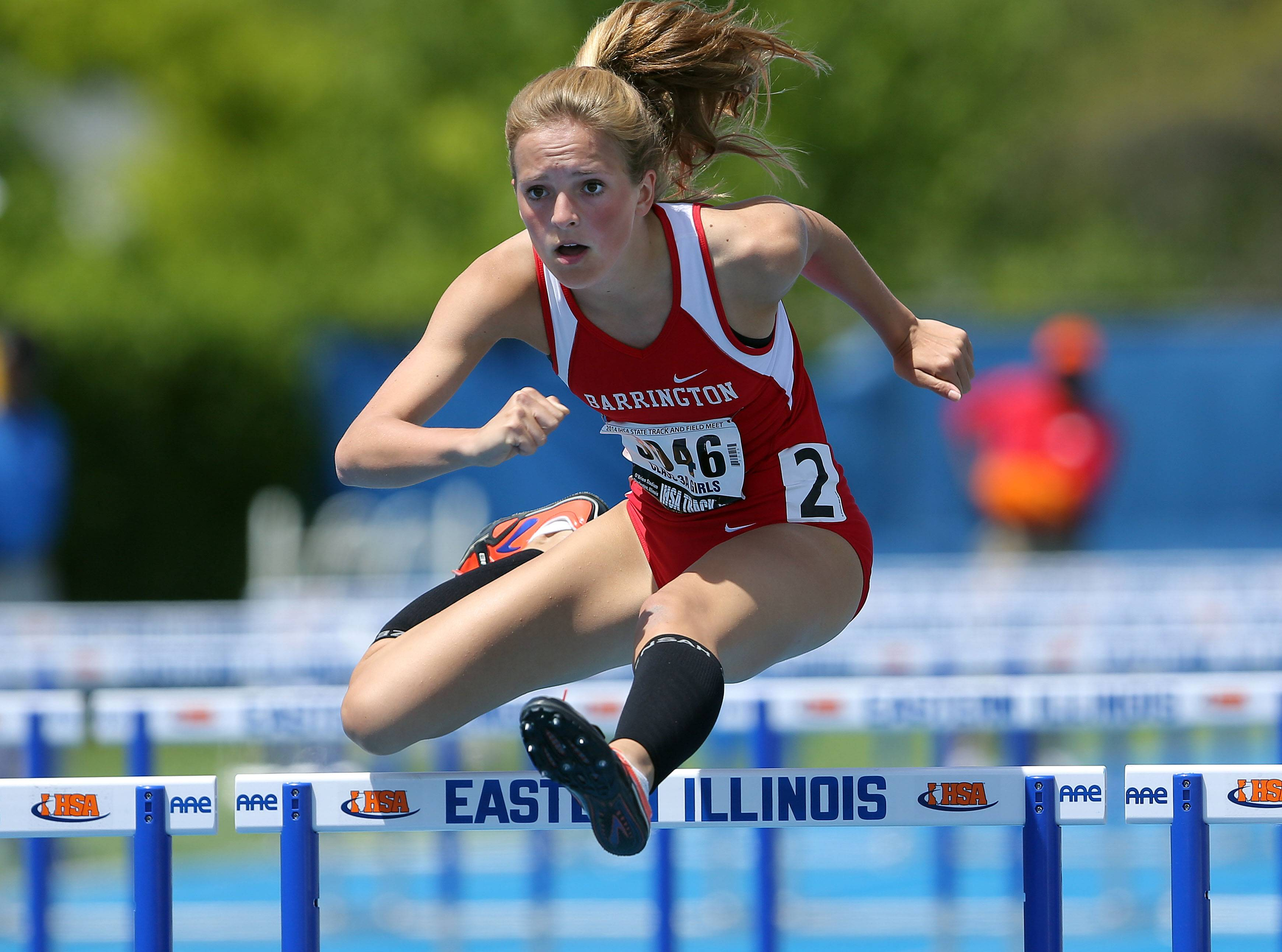 Barrington's McCall Braun competes in the 100-meter high hurdles during the Class 3A prelims of the girls track and field state meet at Eastern Illinois University in Charleston on Friday.