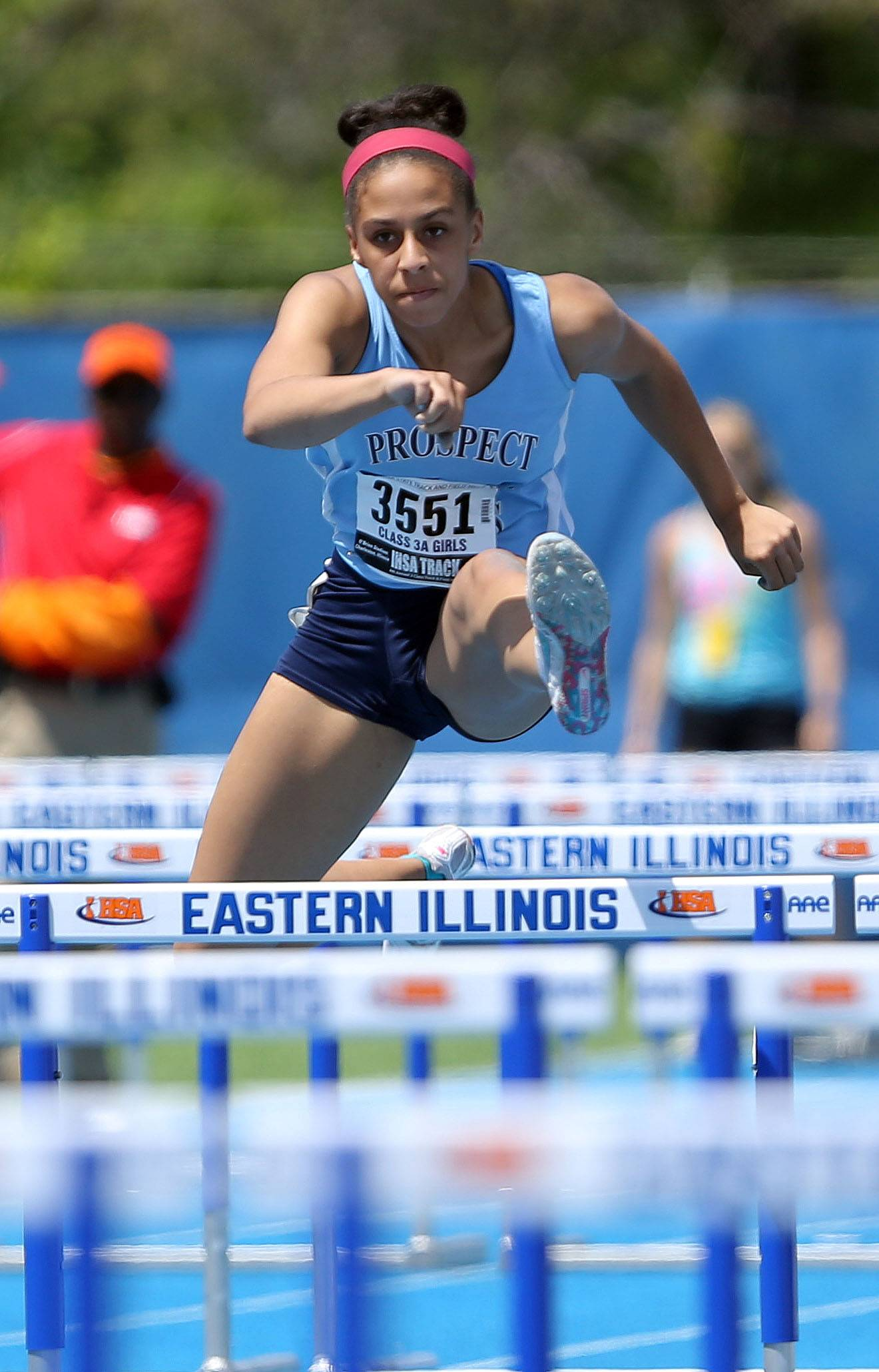 Prospect's Maya Mason competes in the 100-meter high hurdles during the Class 3A prelims of the girls track and field state meet at Eastern Illinois University in Charleston on Friday.