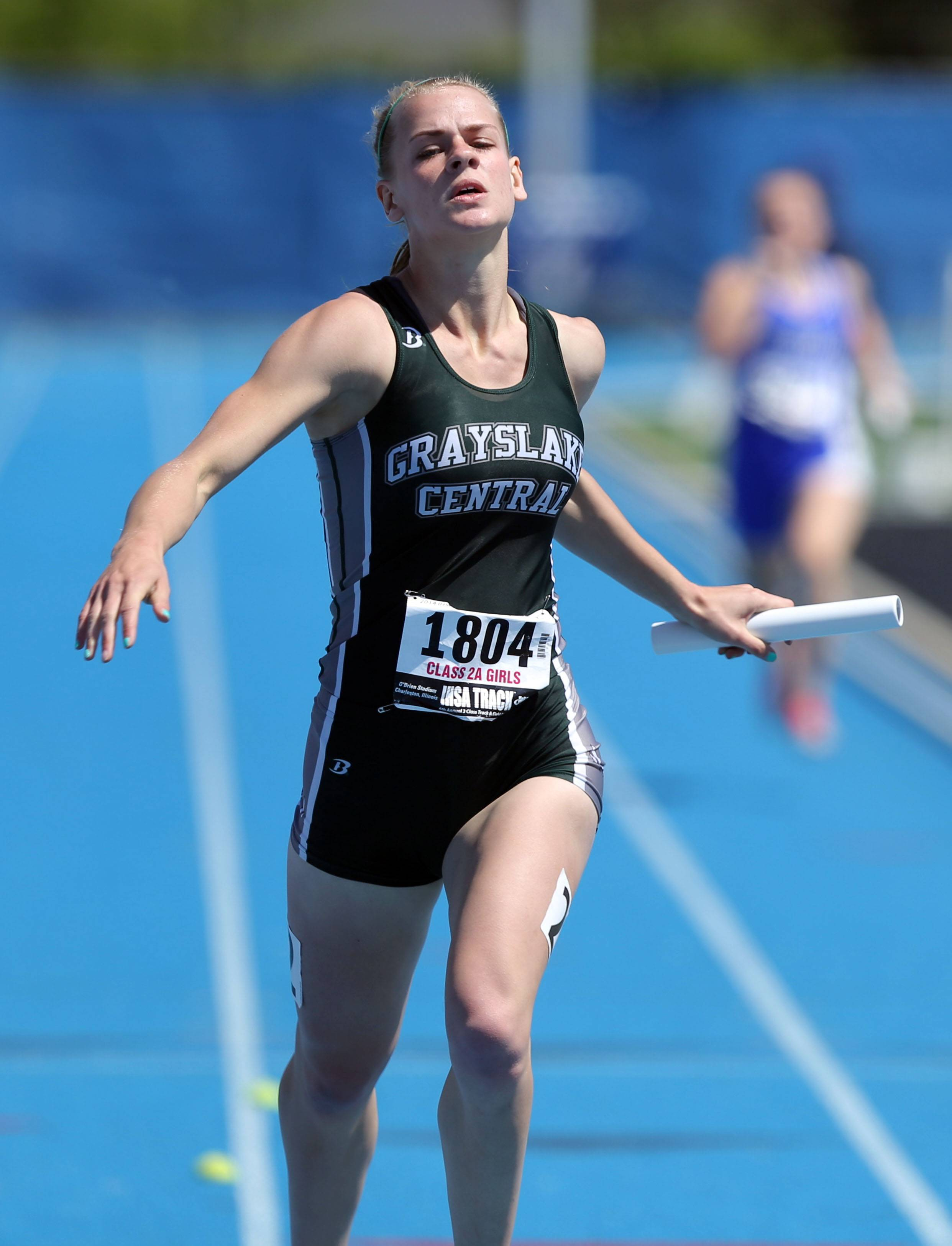Steve Lundy/slundy@dailyherald.comGrayslake Central's Leah Kloss  crosses the finish line in the 4x200-meter relay during the prelims of the girls track and field state meet at Eastern Illinois University in Charleston Friday.