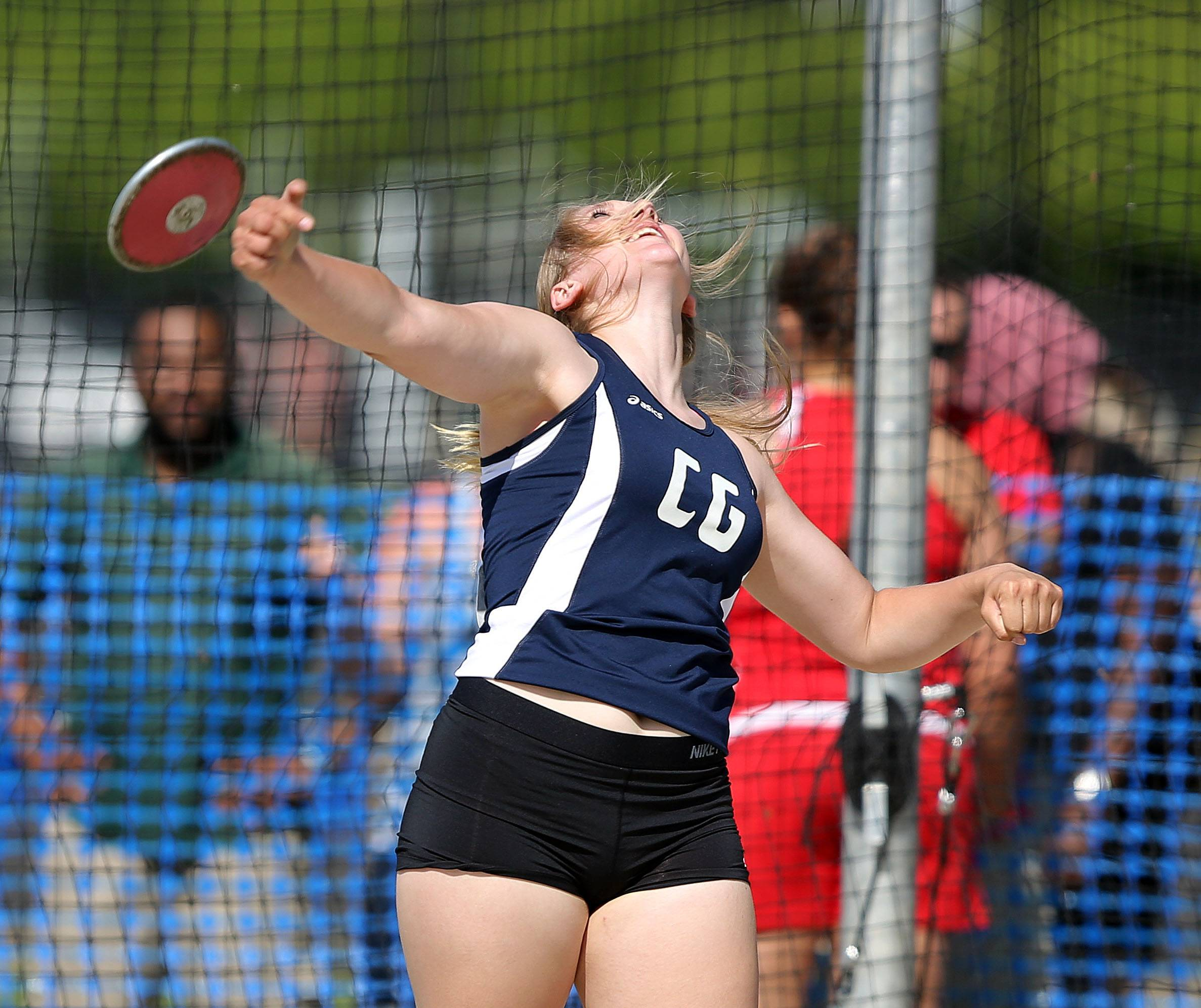Cary-Grove's Nikki Freeman competes in the discus during the prelims of the girls track and field state meet at Eastern Illinois University in Charleston Friday.