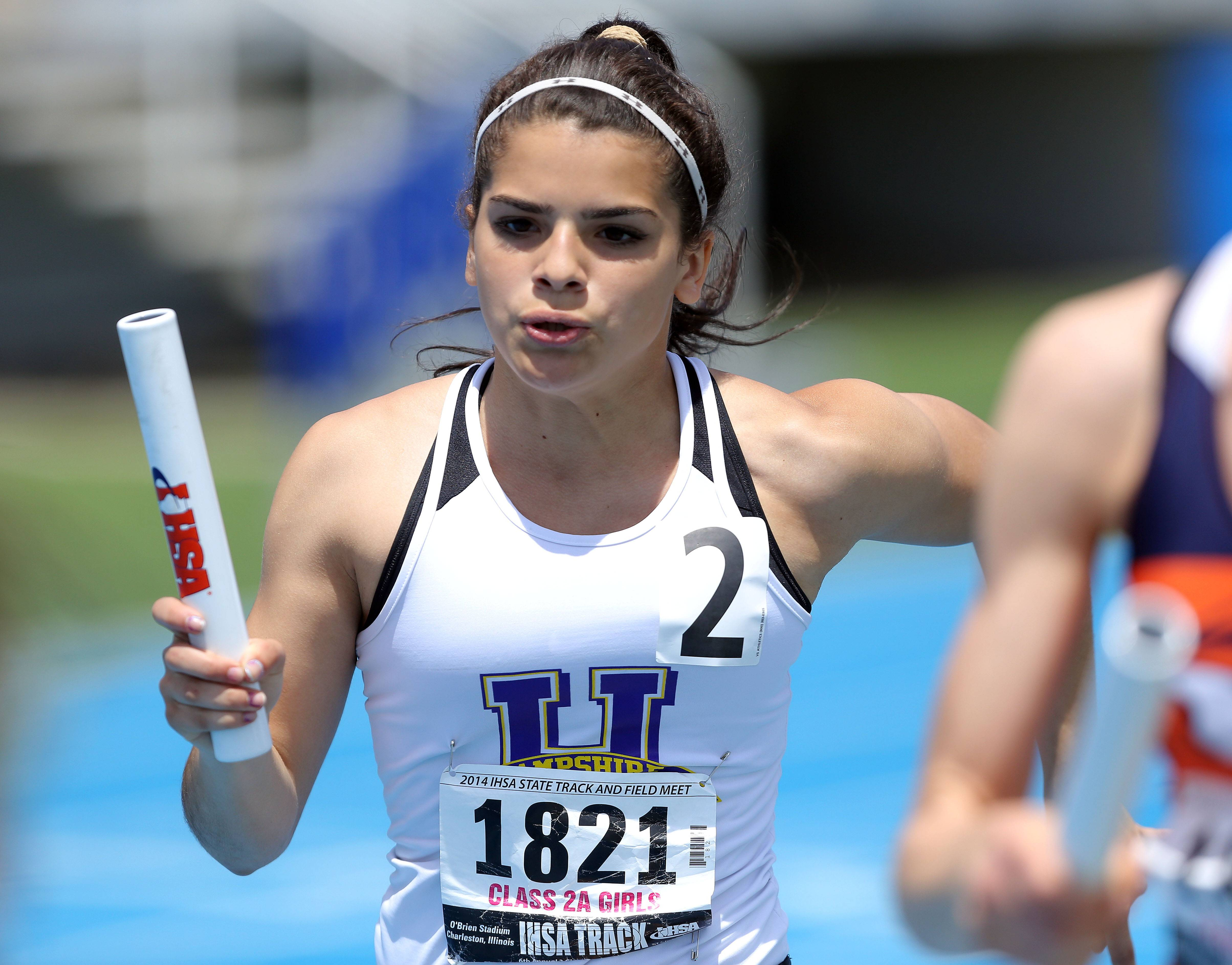 Hampshire's Elizabeth Pagan runs in the 4x400-meter relay during the prelims of the girls track and field state meet at Eastern Illinois University in Charleston Friday.