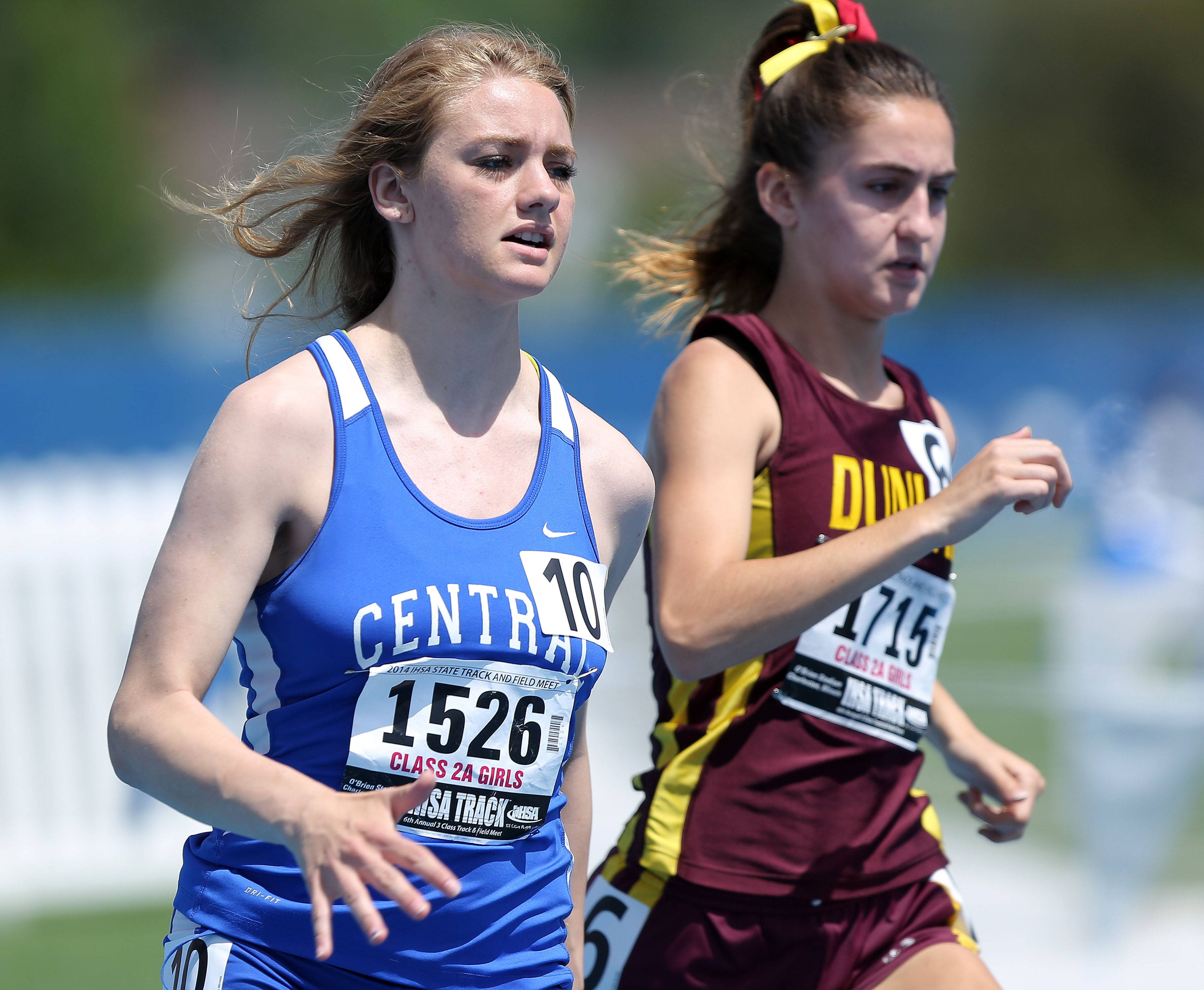 Burlington Central's Katie Bush runs in the 1600-meter run during the prelims of the girls track and field state meet at Eastern Illinois University in Charleston Friday.
