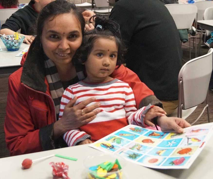 On Wednesday, April 30, the Palatine Library hosted a program celebrating Día de los Niños (Children's Day). The evening began with families playing La Lotería, a traditional Spanish BINGO-style game.