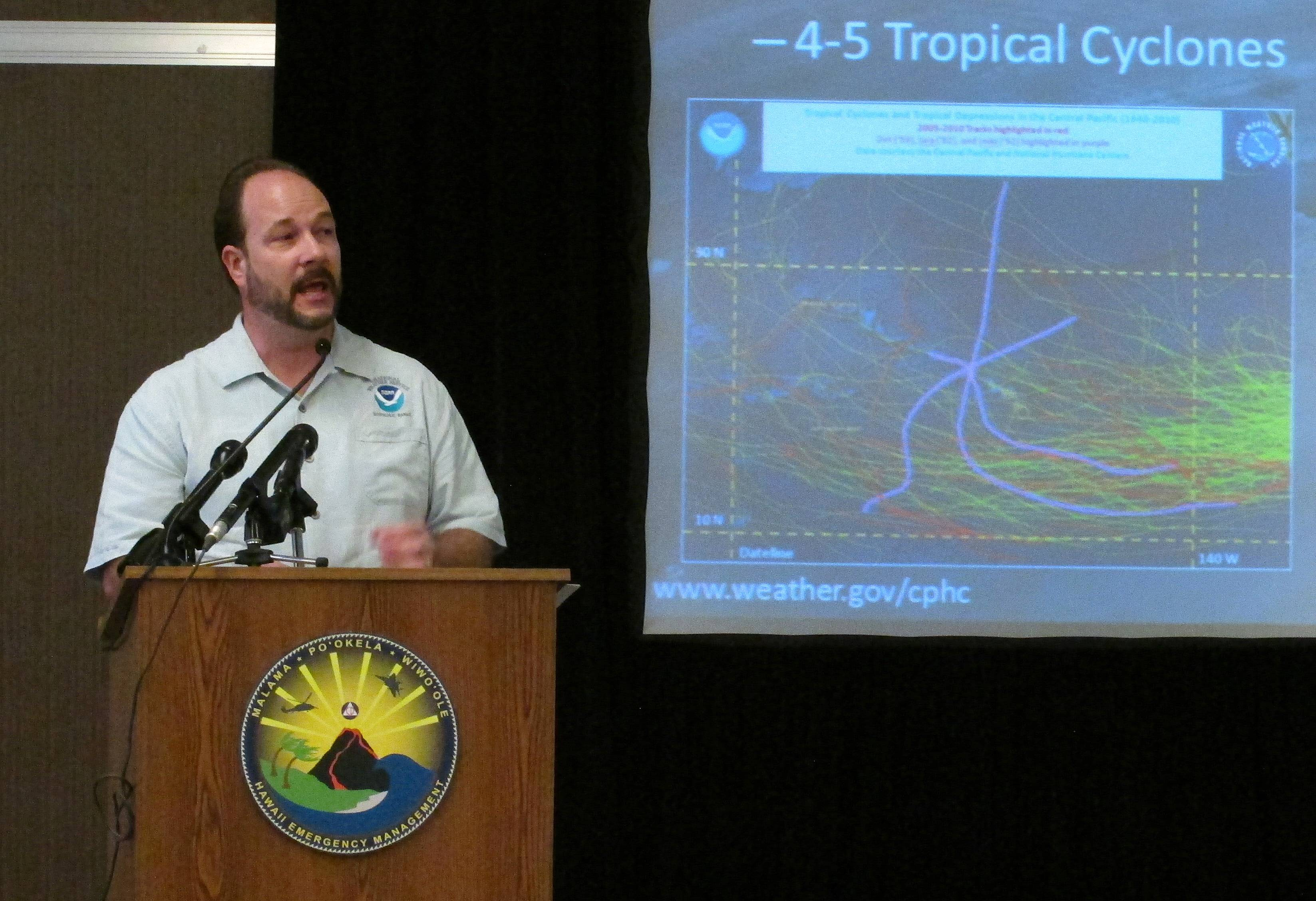 Acting Director Tom Evans of the Central Pacific Hurricane Center speaks Wednesday during a briefing in Honolulu. Weather forecasters are predicting four to seven tropical cyclones in the central Pacific Ocean during this year's hurricane season.