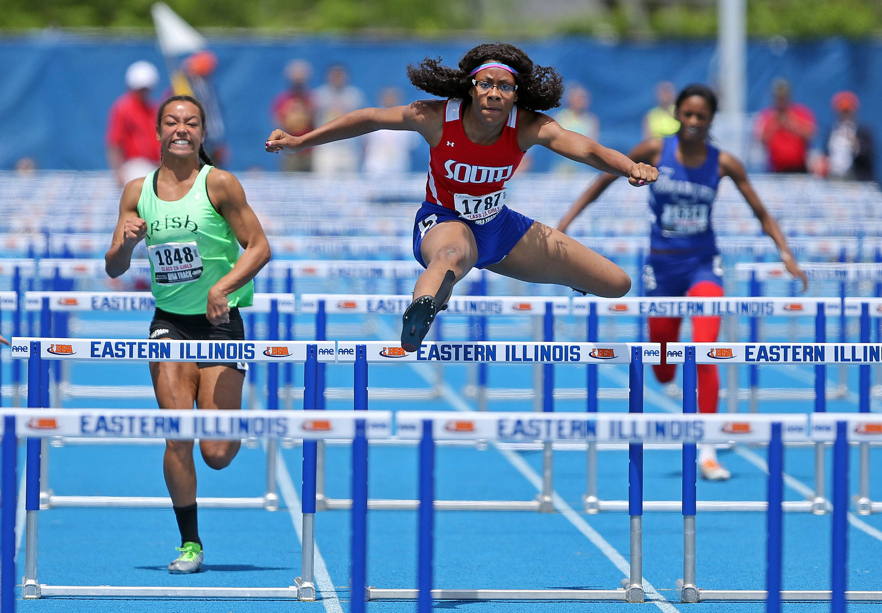 Glenbard South's Katelyn Hills wins the Class 2A 100-meter high hurdles during the girls track and field state finals at Eastern Illinois University in Charleston Saturday.