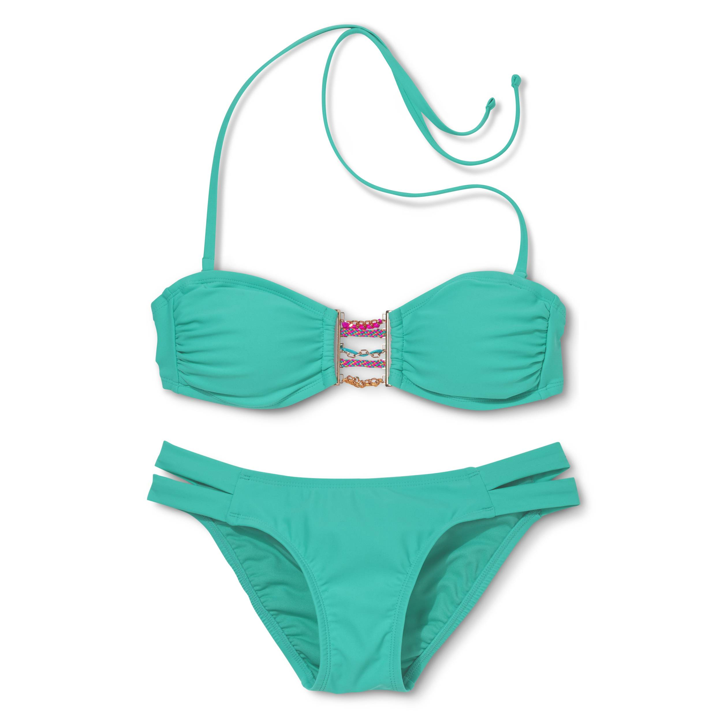 This year's swimwear trends include bold colors, metallic materials and sporty styles.