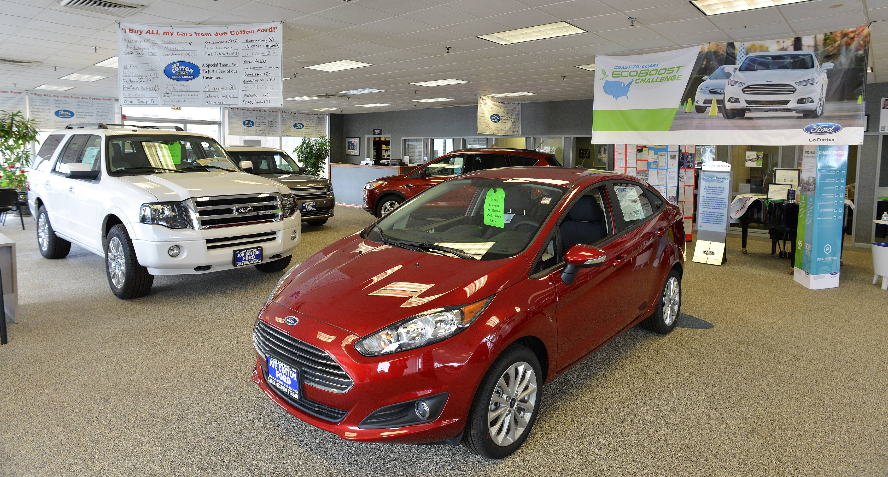 The showroom floor at Joe Cotton Ford in Carol Stream